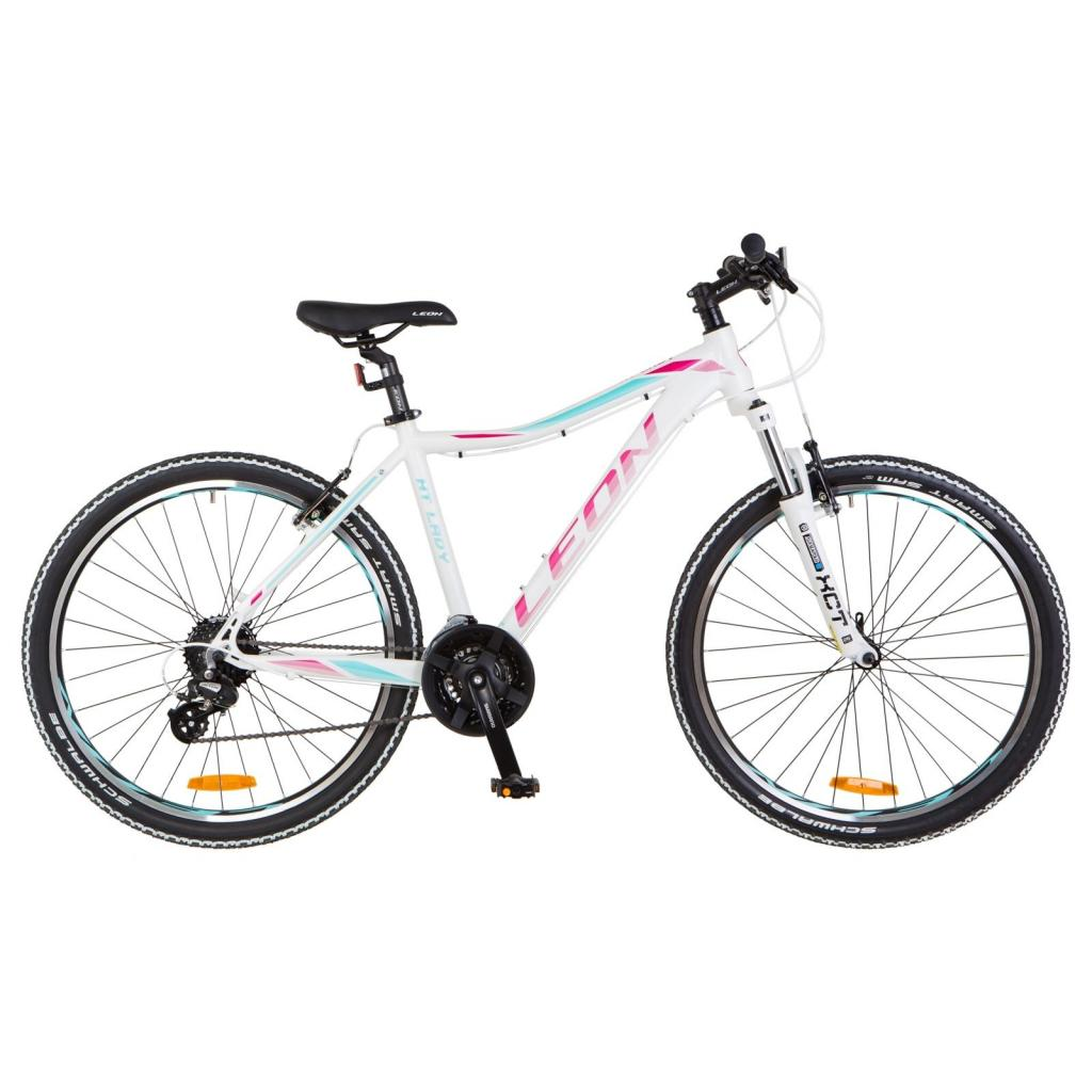 "Велосипед Leon 26"" HT-LADY 2018 AM 14G Vbr рама-16"" Al бело-малиновый (OPS-LN-26-032)"