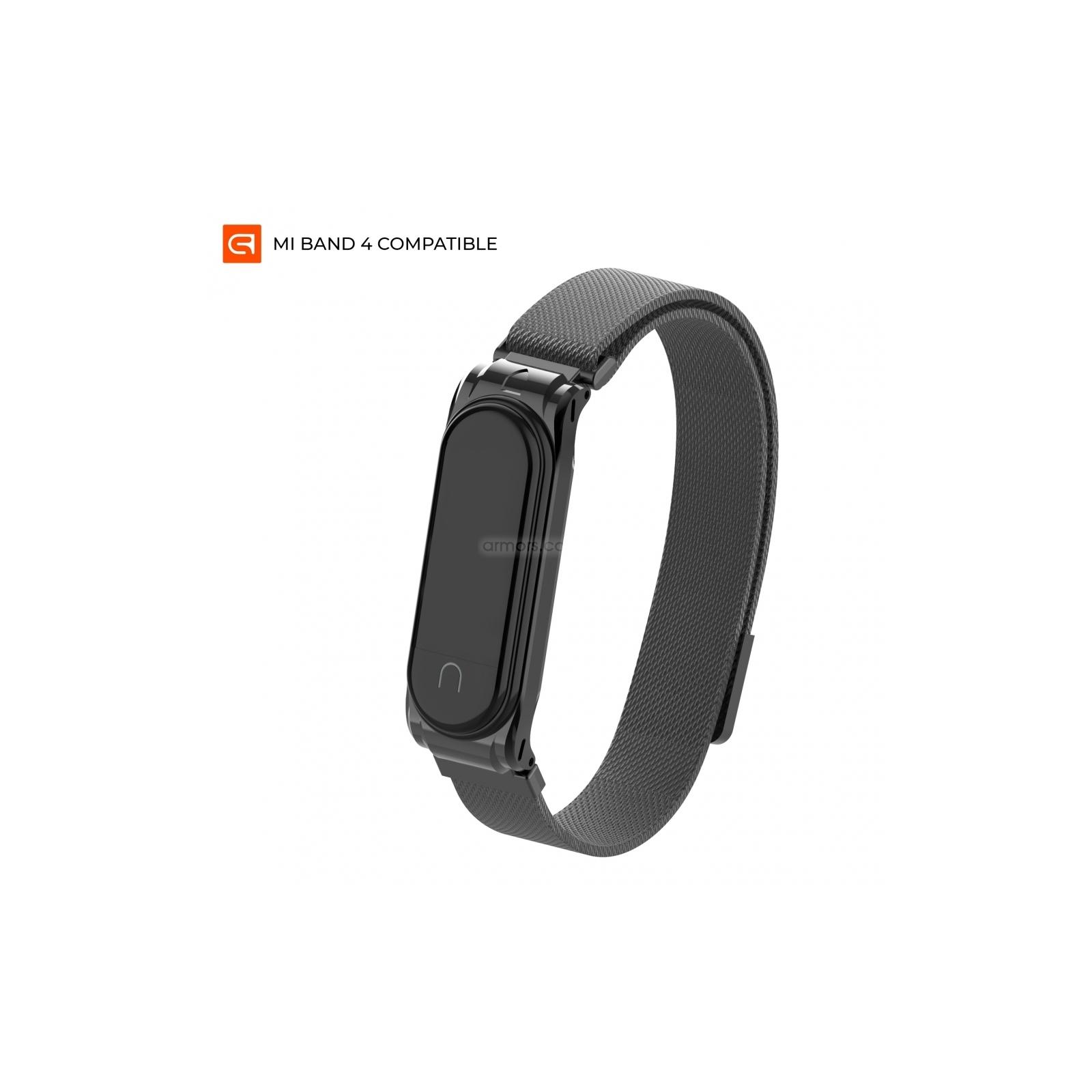 Ремешок для фитнес браслета Armorstandart Milanese Magnetic Band для Xiaomi Mi Band 4/3 Black (ARM55026)