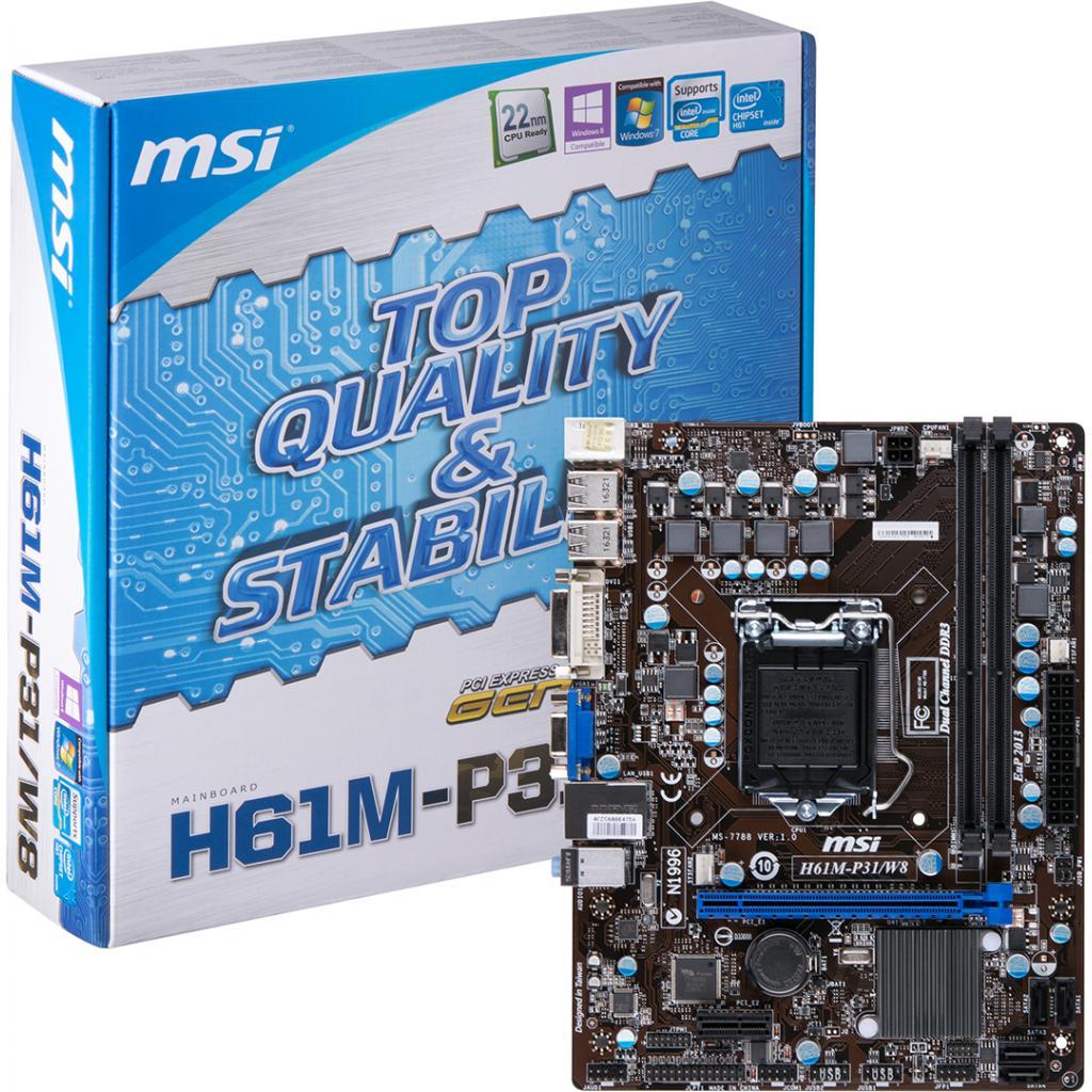 Материнская плата MSI H61M-P31/W8