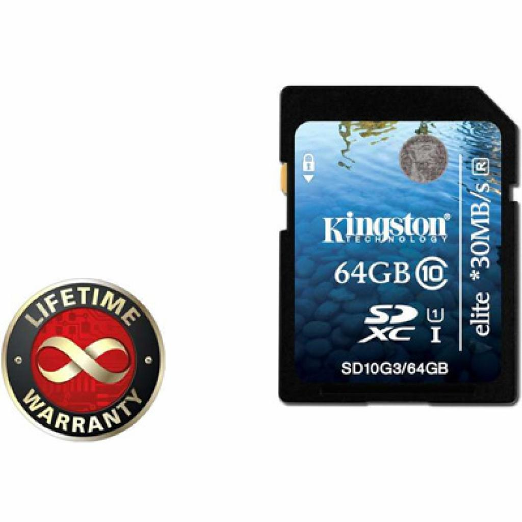 Карта памяти Kingston 64Gb SDHC class 10 UHS-I Elite Generation 3 (SD10G3/64GB)