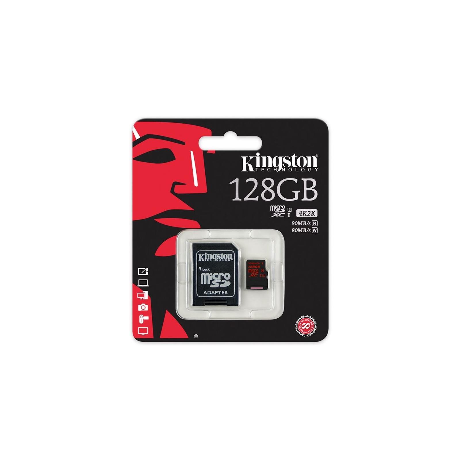 Карта памяти Kingston 128GB microSDXC class10 UHS-I U3 (SDCA3/128GB) изображение 3