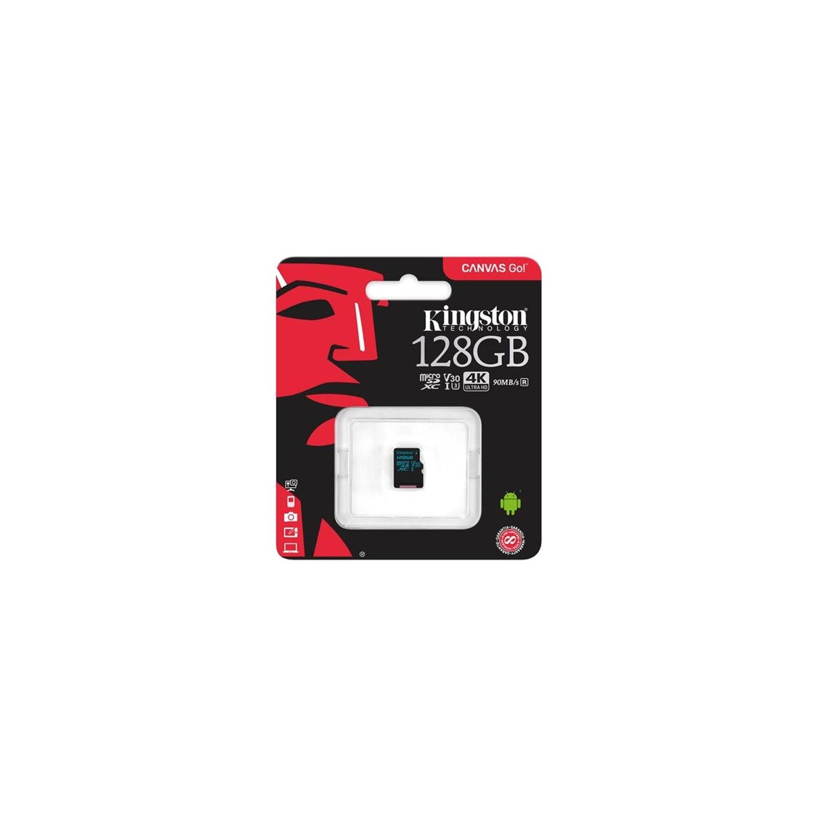 Карта памяти Kingston 128GB microSD class 10 UHS-I U3 Canvas Go (SDCG2/128GBSP) изображение 2