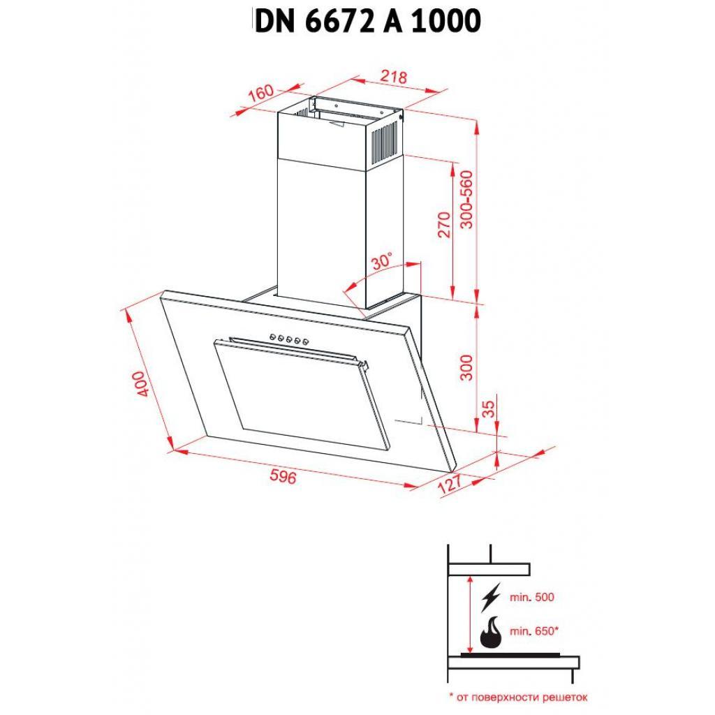 Вытяжка кухонная PERFELLI DN 6672 A 1000 BL/I LED изображение 8