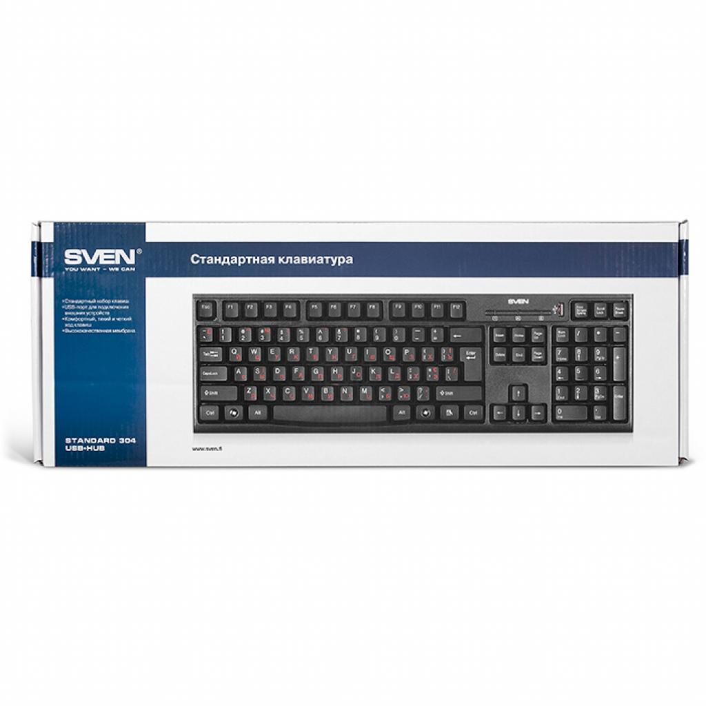 Клавиатура SVEN 304 Standard USB+HUB, black изображение 4