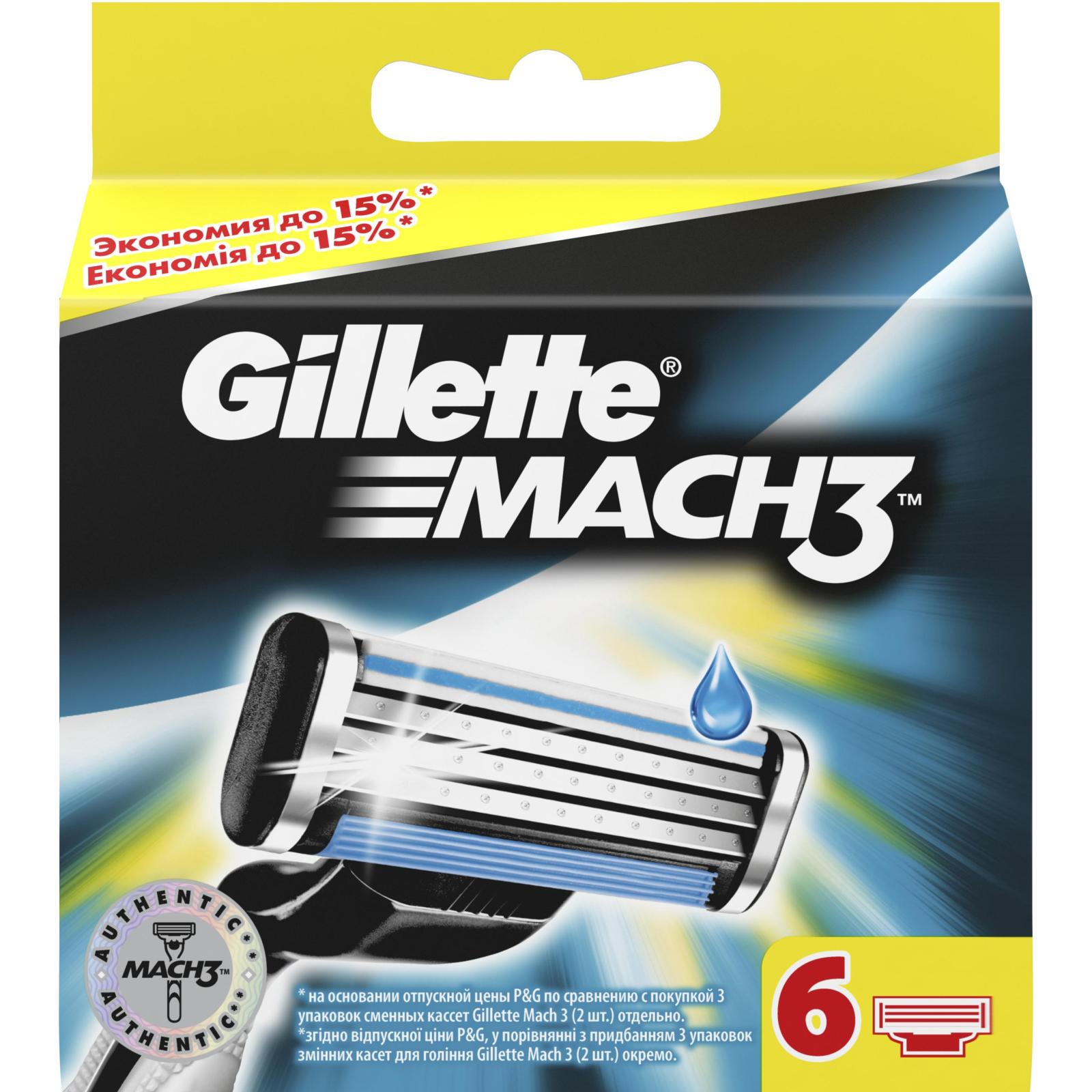 Сменные кассеты Gillette Mach3, 6 шт (7702018408832)