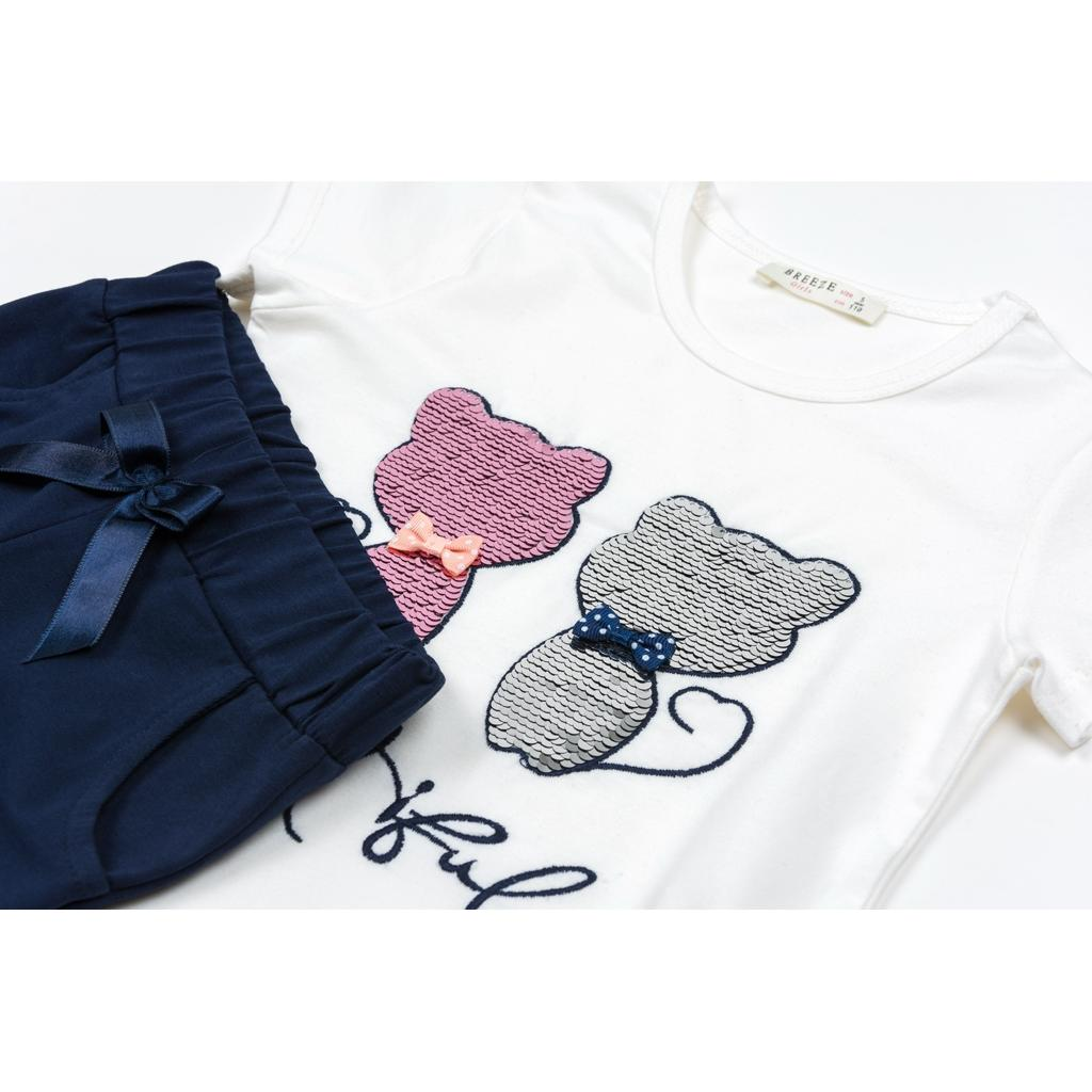Набор детской одежды Breeze с котятами (10843-128G-beige) изображение 3