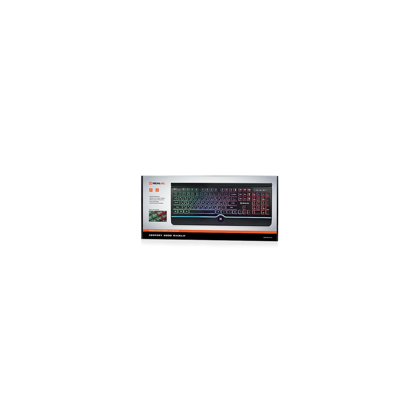 Клавіатура REAL-EL 8000 Comfort Backlit Black зображення 2