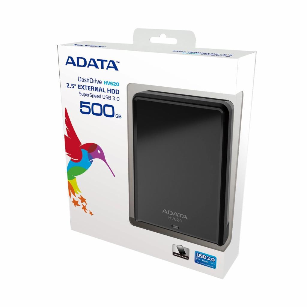 """Внешний жесткий диск 2.5"""" 500GB ADATA (AHV620-500GU3-CBK) изображение 2"""