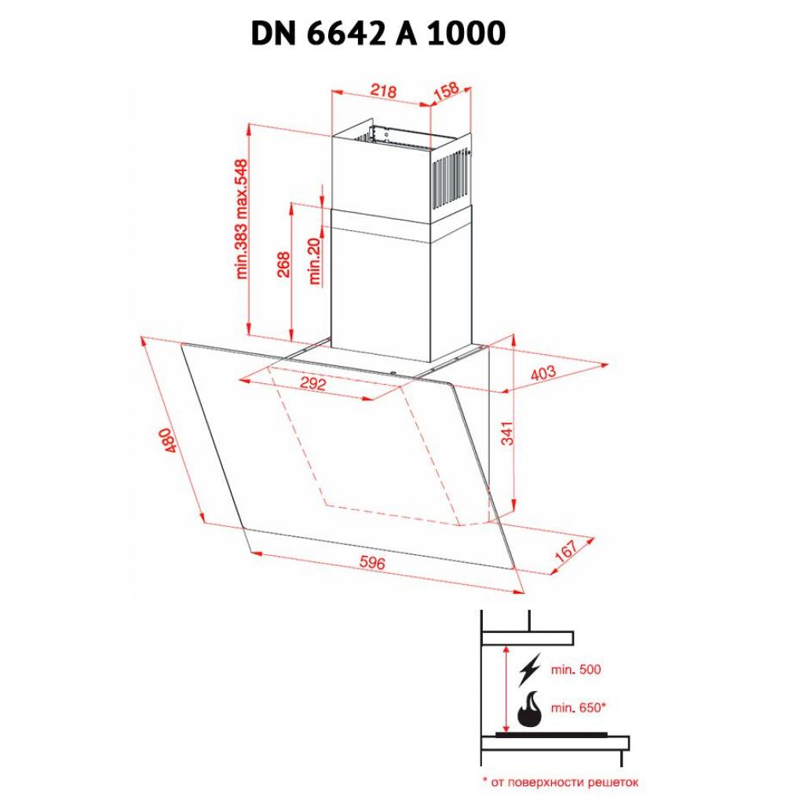 Вытяжка кухонная PERFELLI DN 6642 A 1000 IV LED изображение 7