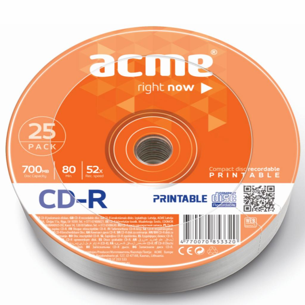 Диск CD-R ACME 700Mb 52x shrink 25 шт PRINTABLE (4770070853320)
