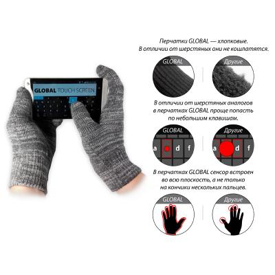 Перчатки для сенсорных экранов GLOBAL Touch Screen (1283126441301) изображение 3