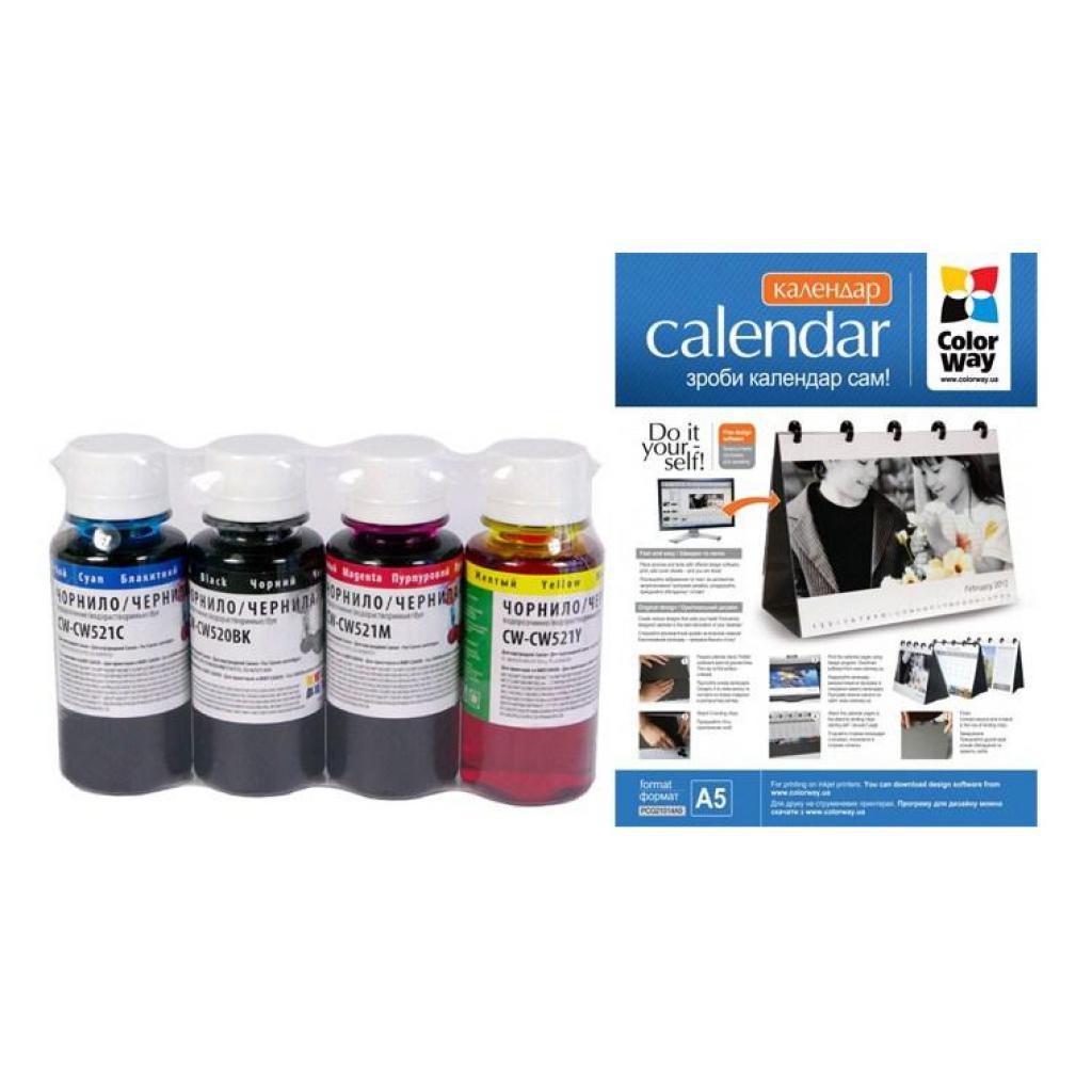 Чернила ColorWay Canon PGI-510/CLI521 (4х100) BK/С/M/Y+Calendar А5-14 (CW-CW520/521-01/PCG21014A5)