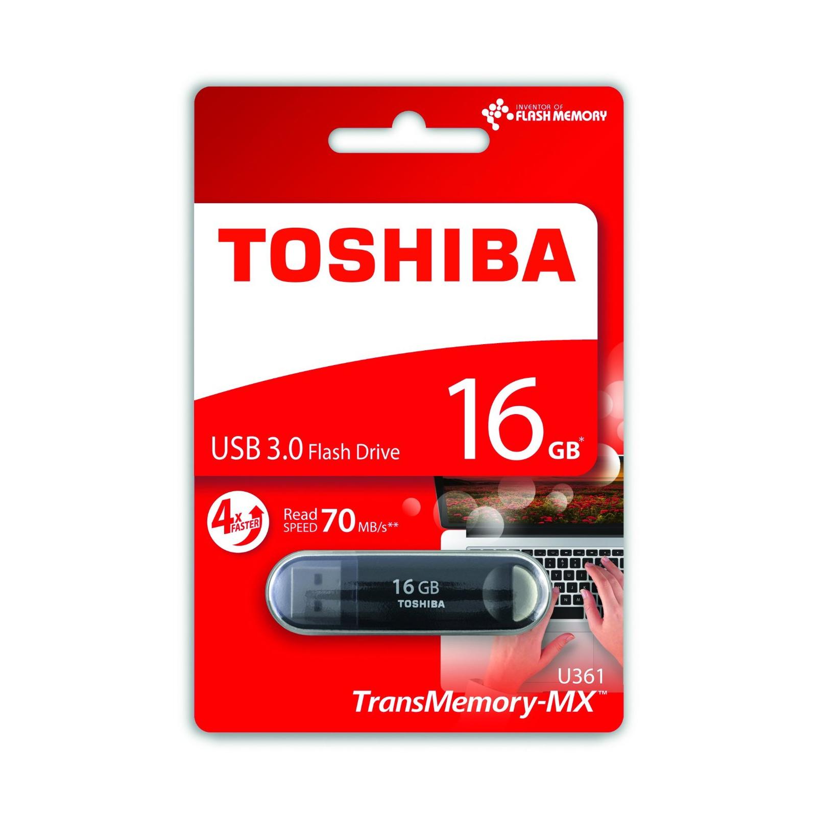 USB флеш накопитель TOSHIBA 16GB Suzaku Black USB 3.0 (THN-U361K0160M4) изображение 3