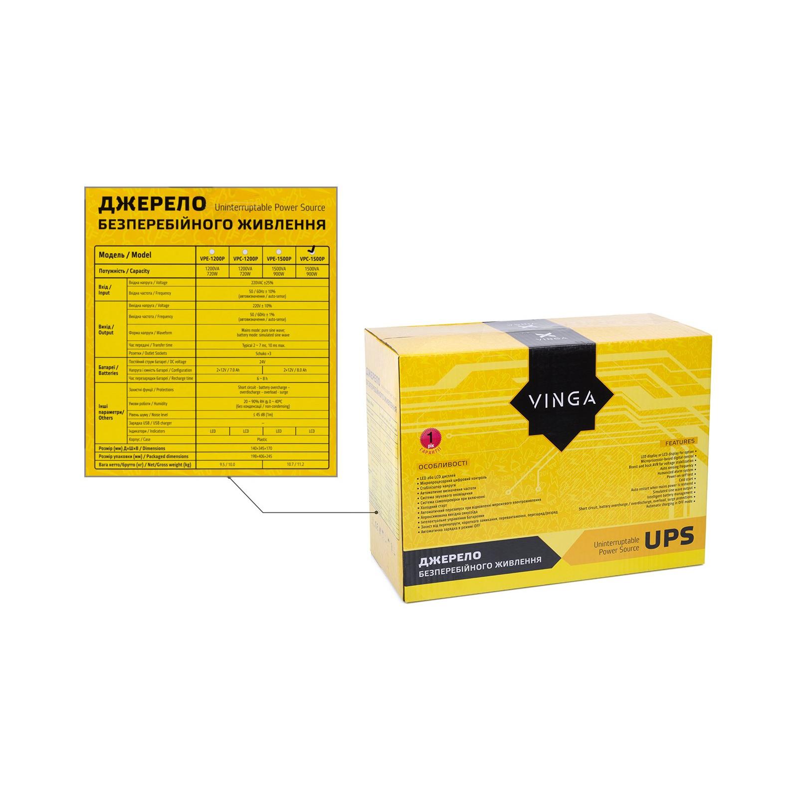 Источник бесперебойного питания Vinga LCD 1200VA plastic case (VPC-1200P) изображение 12