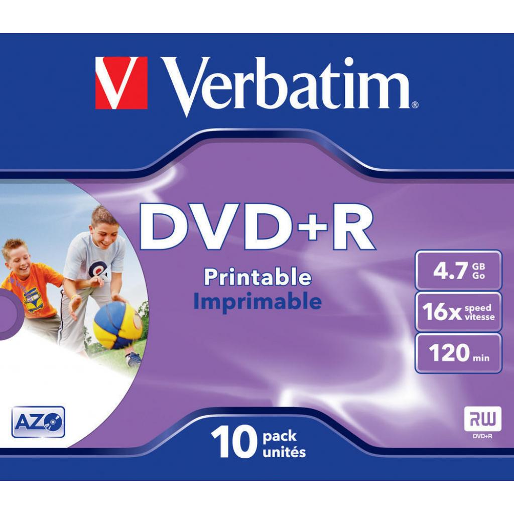 Диск DVD Verbatim 4.7Gb 16X Jewelcase 10шт Printable (43508)