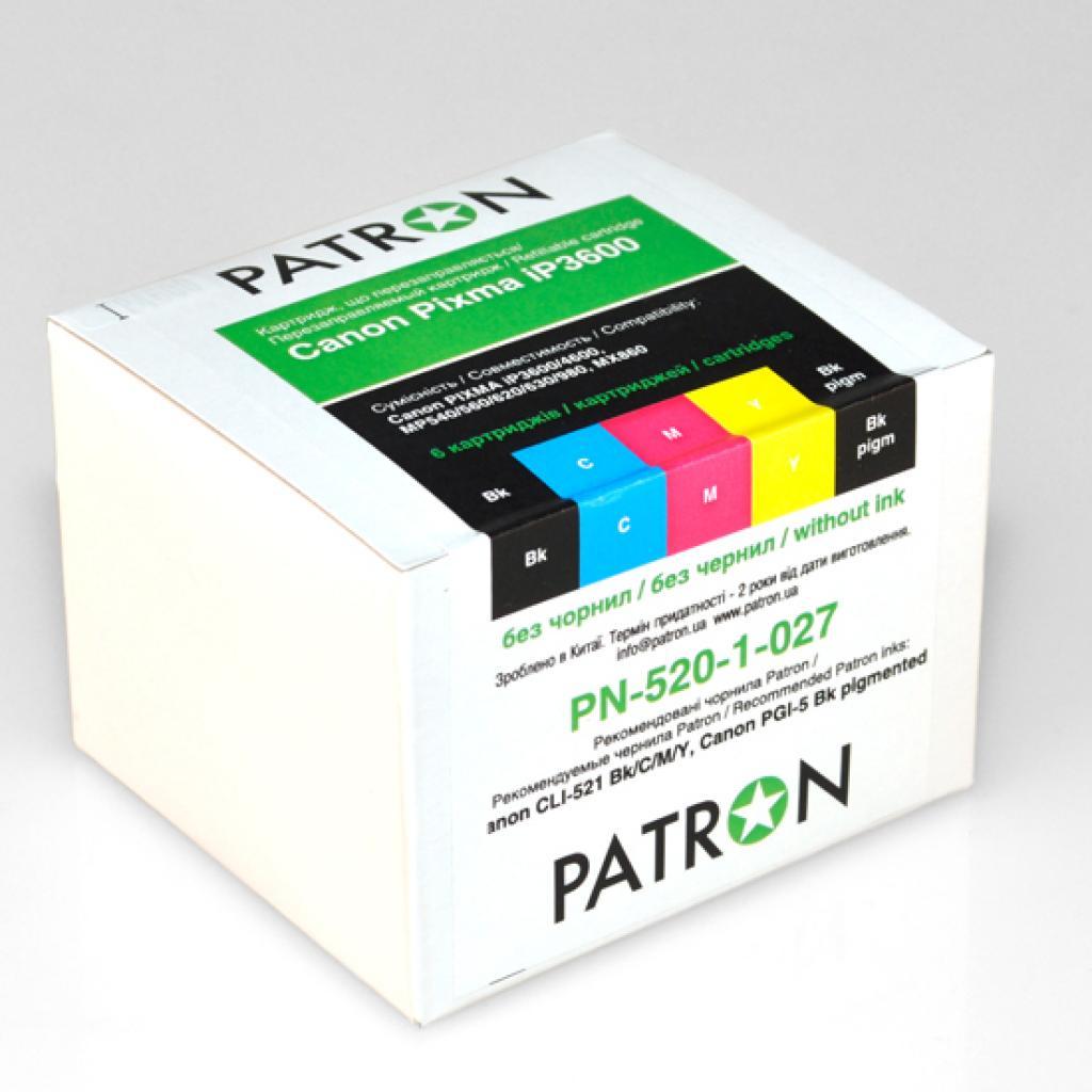 Комплект перезаправляемых картриджей PATRON CANON iP3600 (CIR-PN-CPGI520C-027)