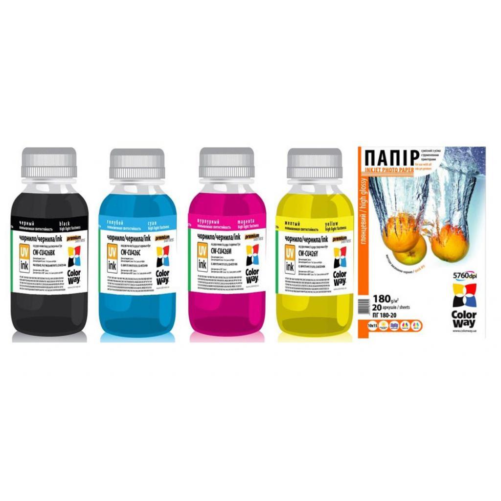 Чернила ColorWay Canon UV CLI-426 BK/С/M/Y+10x15 PG180-20 (CW-CU426SET01/PG1800204R)