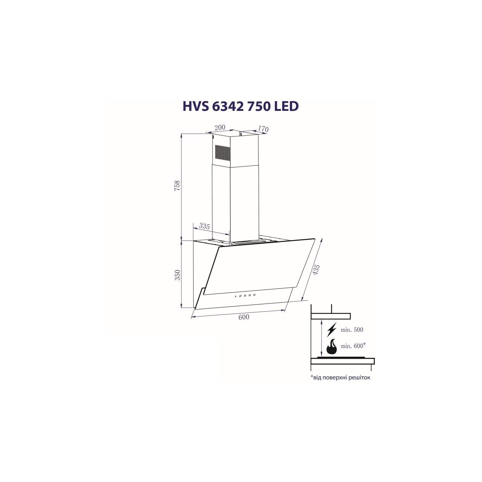 Вытяжка кухонная MINOLA HVS 6342 BL 750 LED изображение 7