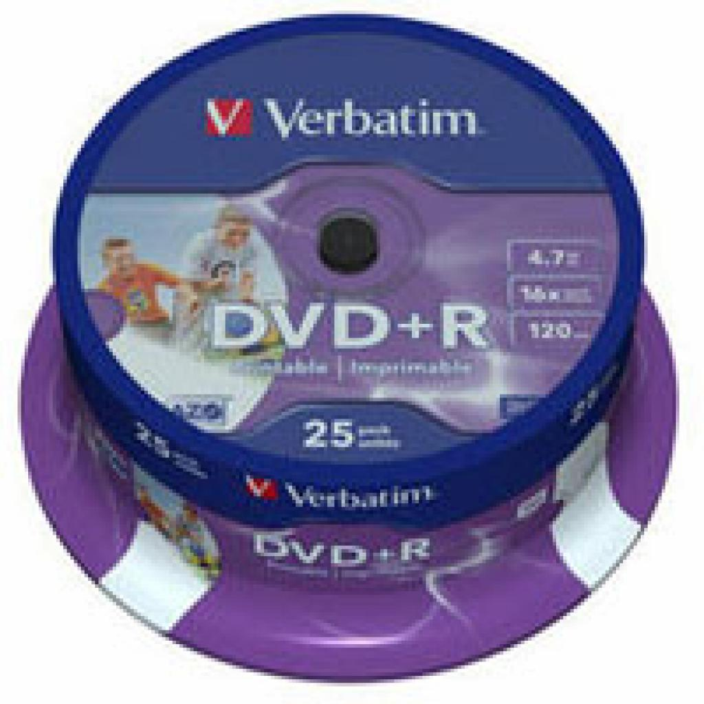 Диск DVD+R Verbatim 4.7Gb 16X CakeBox 25шт Printable (43539)