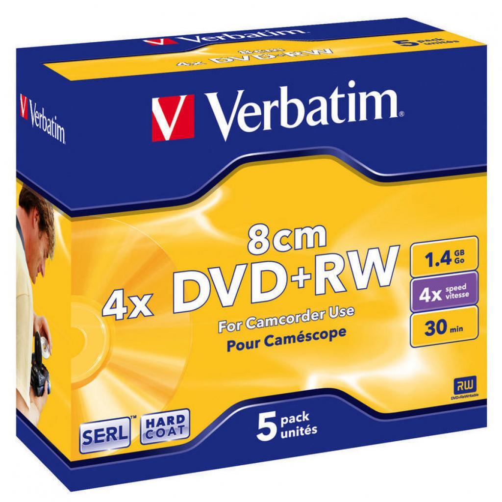 Диск DVD+RW Verbatim mini 1.4Gb 4X Jewel 5шт Matt Silver (43565)