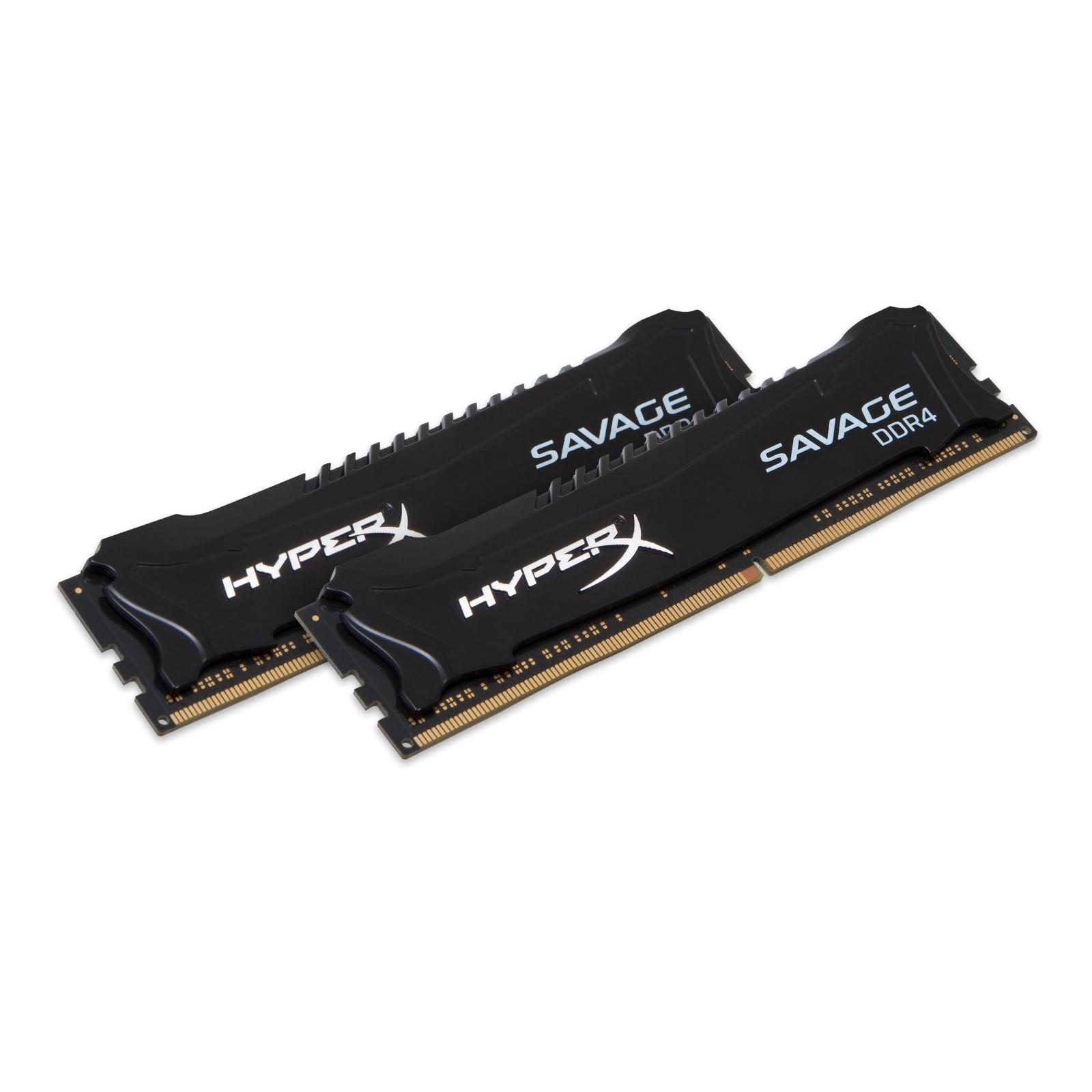 Модуль памяти для компьютера DDR4 8GB (2x4GB) 2400 MHz Savage Blak Kingston (HX424C12SB2K2/8) изображение 2