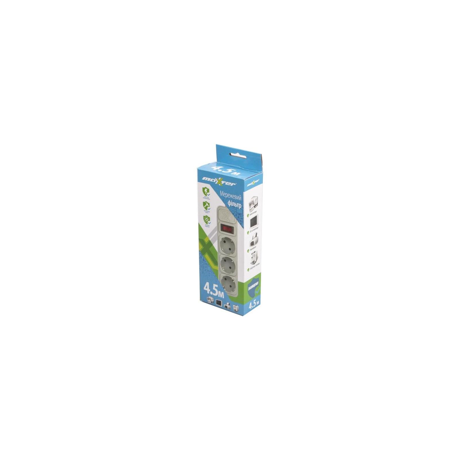 Сетевой фильтр питания Maxxter SPM3-G-15G grey, 4.5 м кабель, 3 розетки (SPM3-G-15G) изображение 2