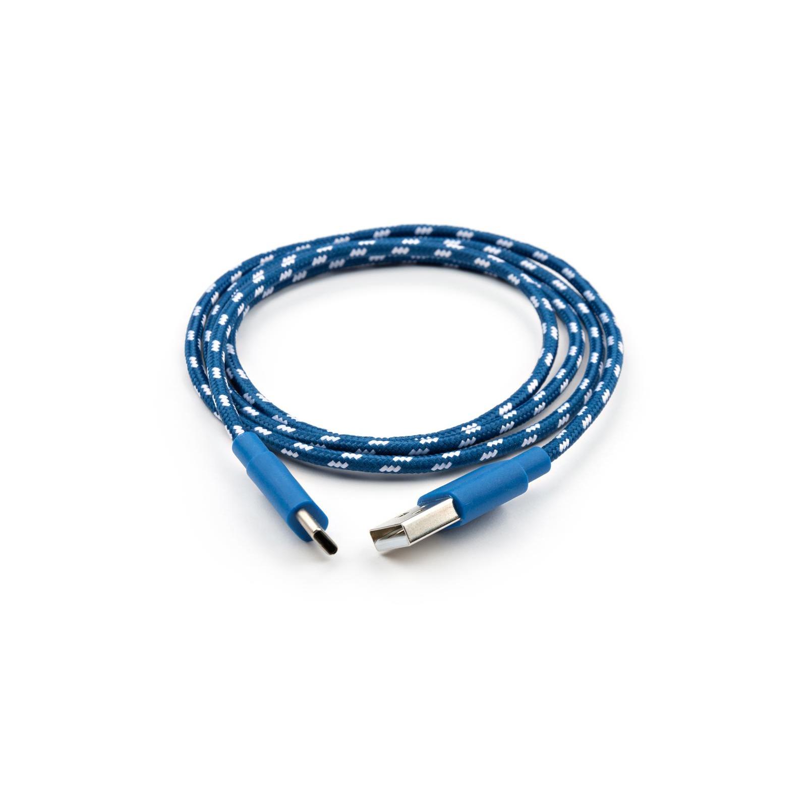 Дата кабель USB 2.0 AM to Type-C 2color nylon 1m blue Vinga (VCPDCTCNB31B) изображение 2