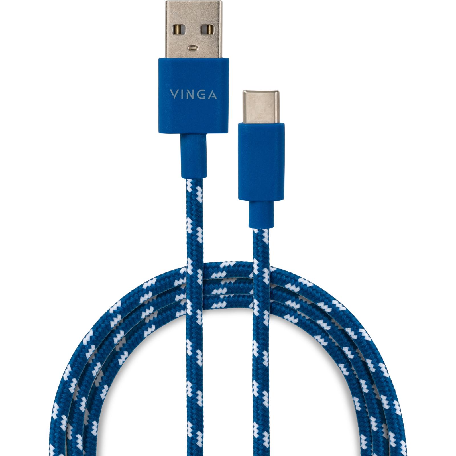 Дата кабель USB 2.0 AM to Type-C 2color nylon 1m blue Vinga (VCPDCTCNB31B)