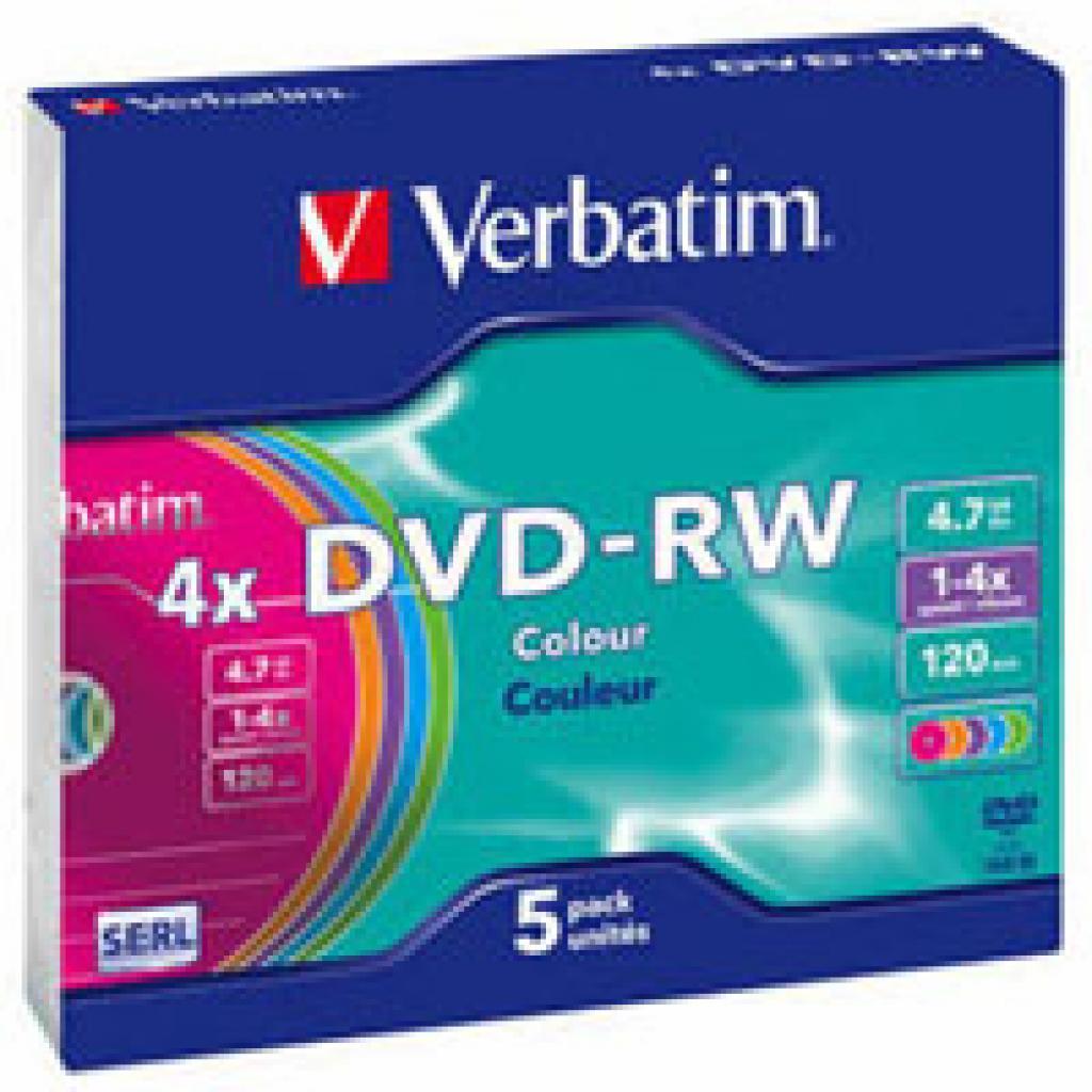 Диск DVD Verbatim 4.7Gb 4x Slim Case 5шт Color (43563)