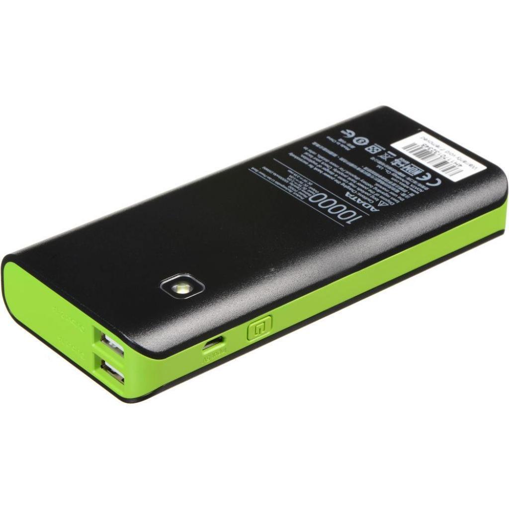 Батарея универсальная ADATA PT100 10000mAh Black-Green (APT100-10000M-5V-CBKGR) изображение 5