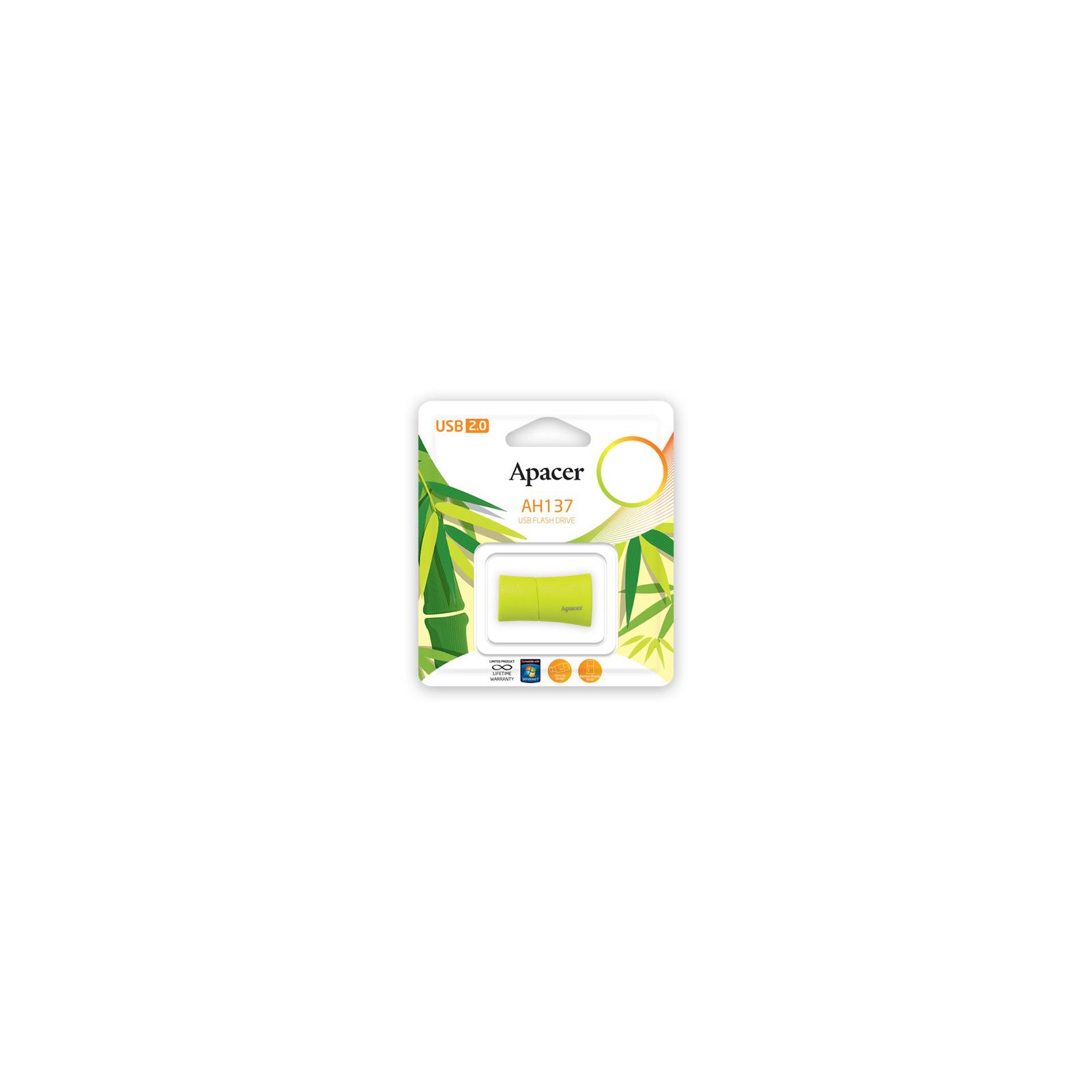 USB флеш накопитель 8GB AH137 Green RP USB2.0 Apacer (AP8GAH137G-1) изображение 5