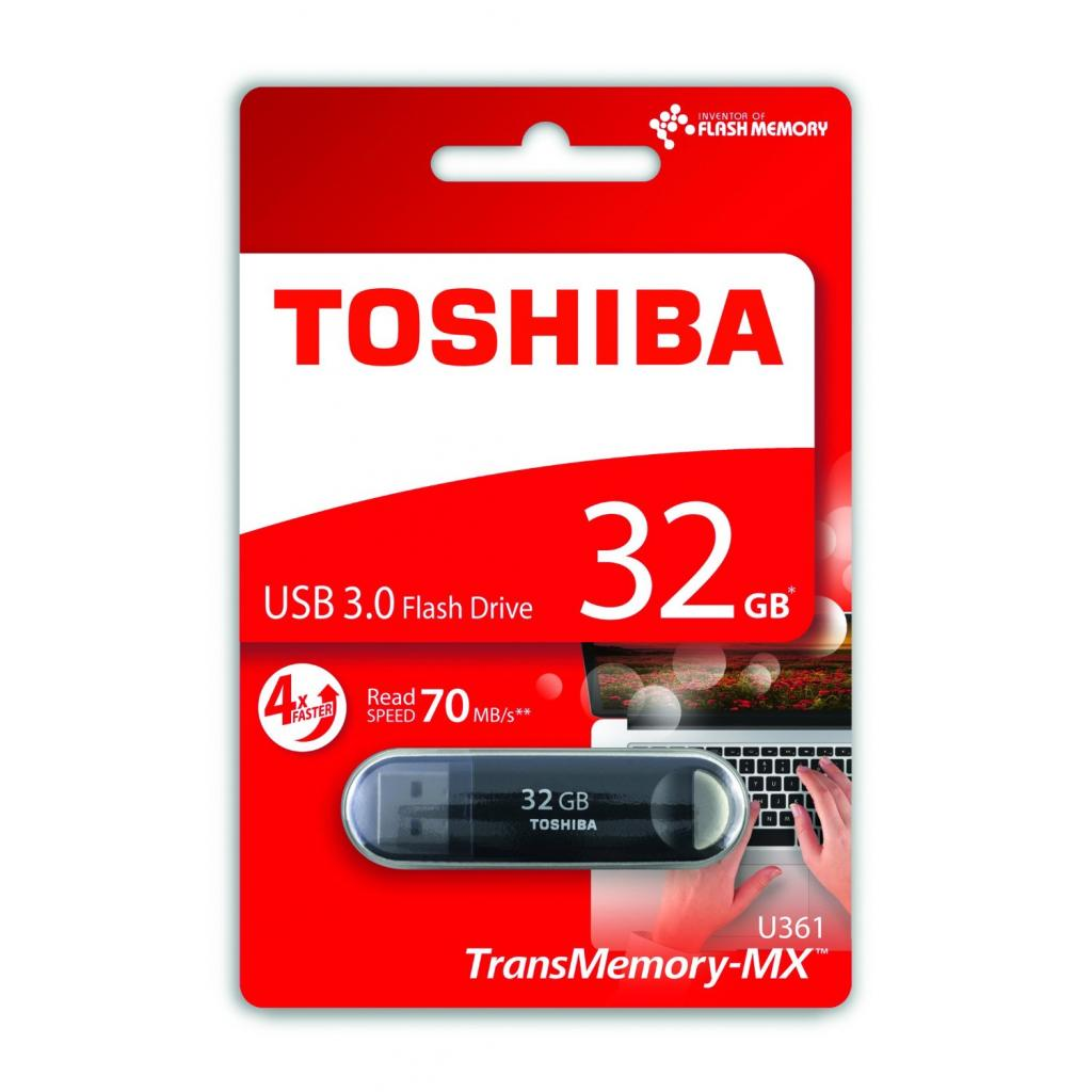 USB флеш накопитель Toshiba 32GB Suzaku Black USB 3.0 (THN-U361K0320M4) изображение 2