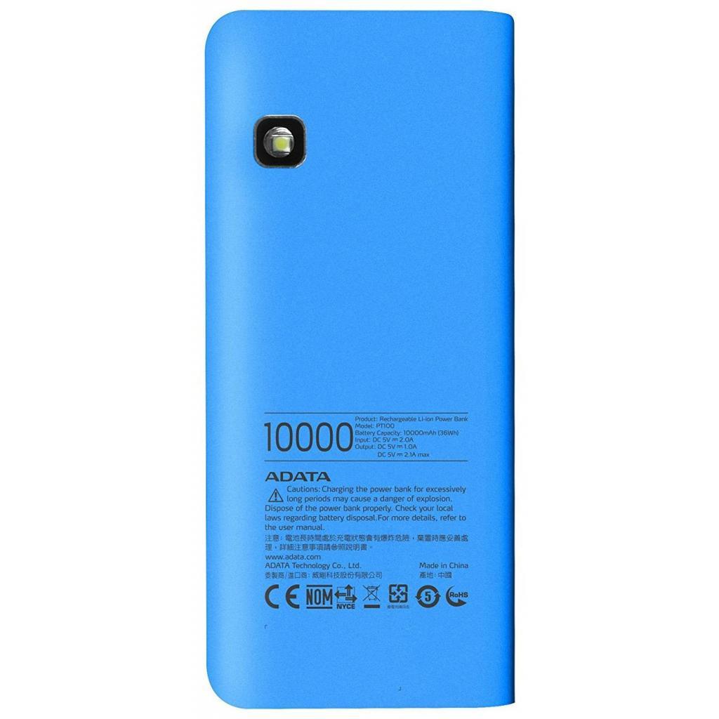 Батарея универсальная ADATA PT100 10000mAh Blue-White (APT100-10000M-5V-CBLWH) изображение 2