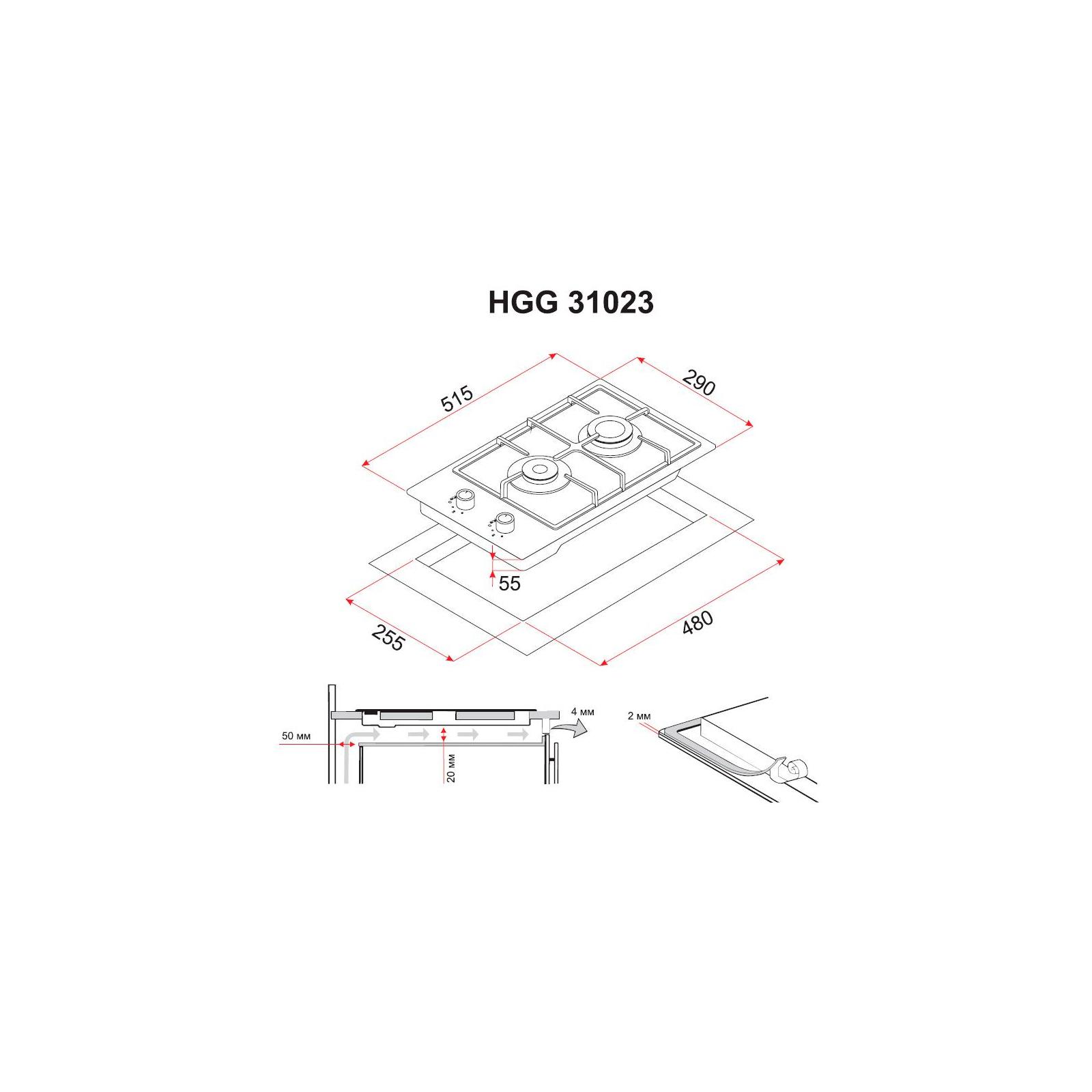 Варочная поверхность PERFELLI HGG 31023 WH изображение 6