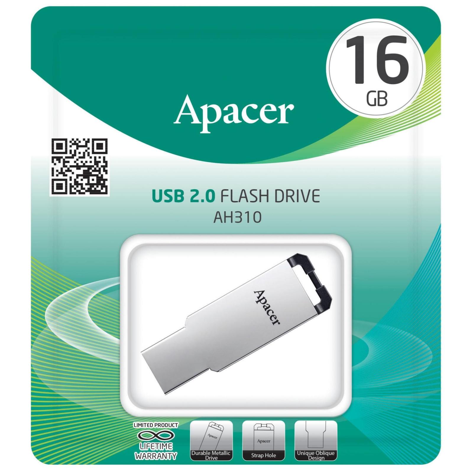USB флеш накопитель Apacer 16GB AH310 Silver USB 2.0 (AP16GAH310S-1) изображение 3