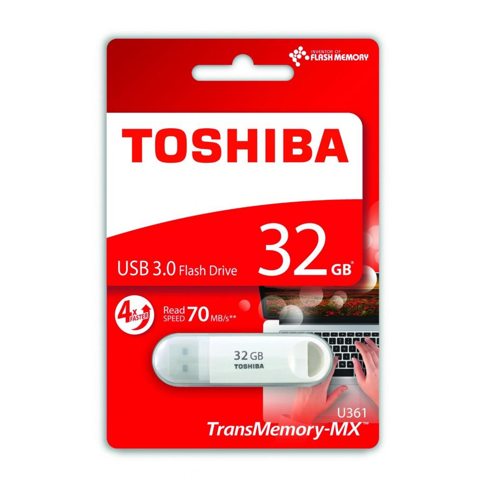 USB флеш накопитель TOSHIBA 32GB Suzaku White USB 3.0 (THN-U361W0320M4) изображение 2