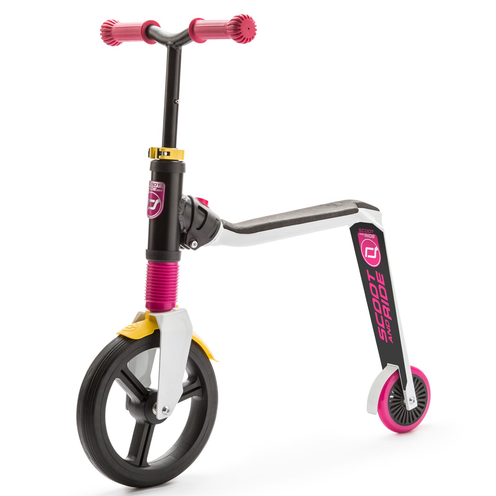 Самокат Scoot&Ride Highwayfreak 3.0 бело-розово-желтый (SR-202310-WHITE-PINK-YELLOW)