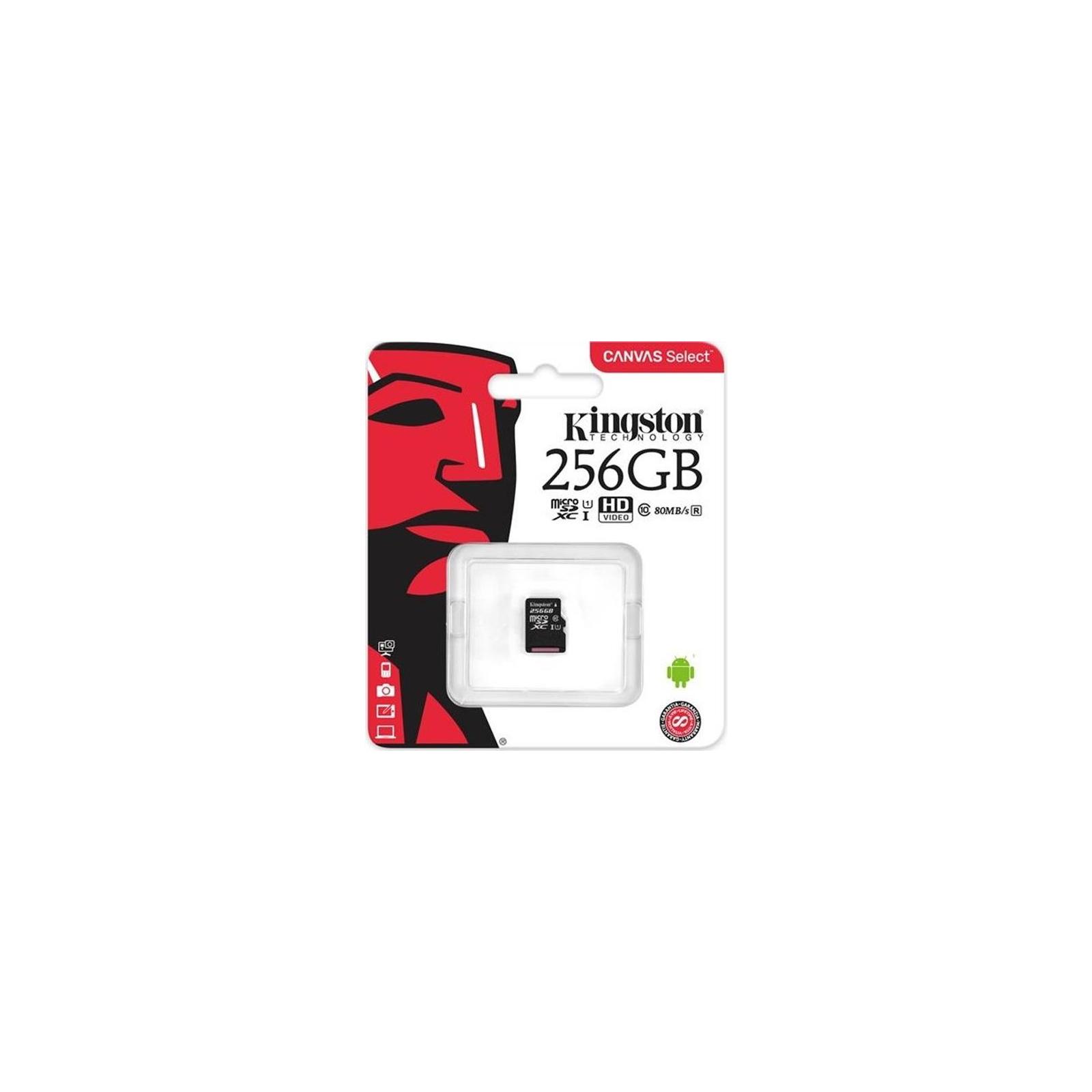 Карта памяти Kingston 256GB microSDXC class 10 UHS-I Canvas Select (SDCS/256GBSP) изображение 2