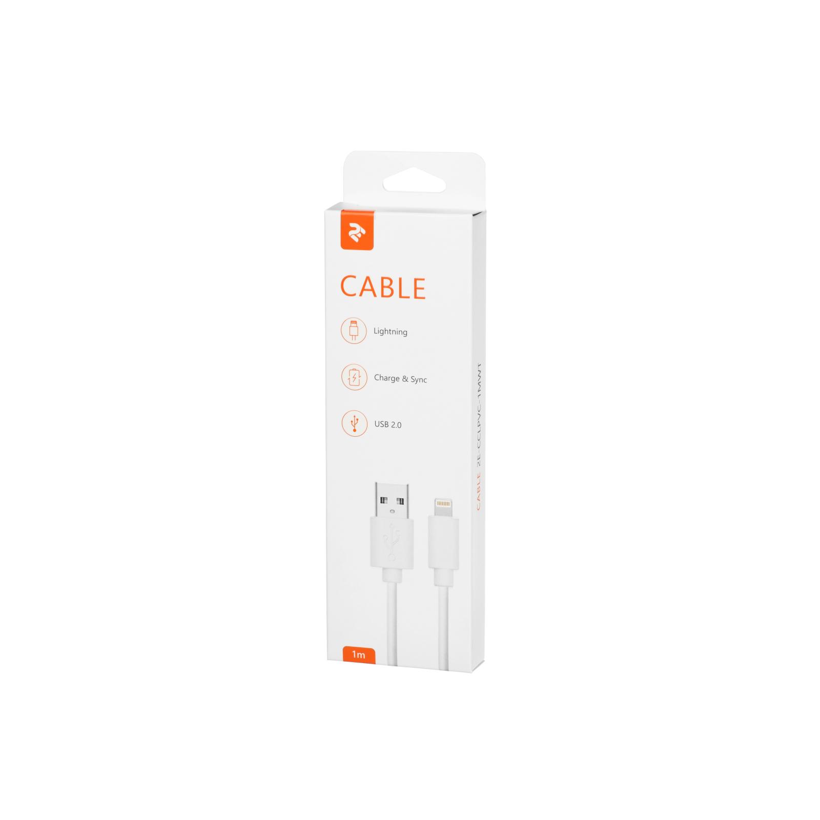 Дата кабель USB 2.0 AM to Lightning 1.0m white 2E (2E-CCLPVC-1MWT) изображение 3