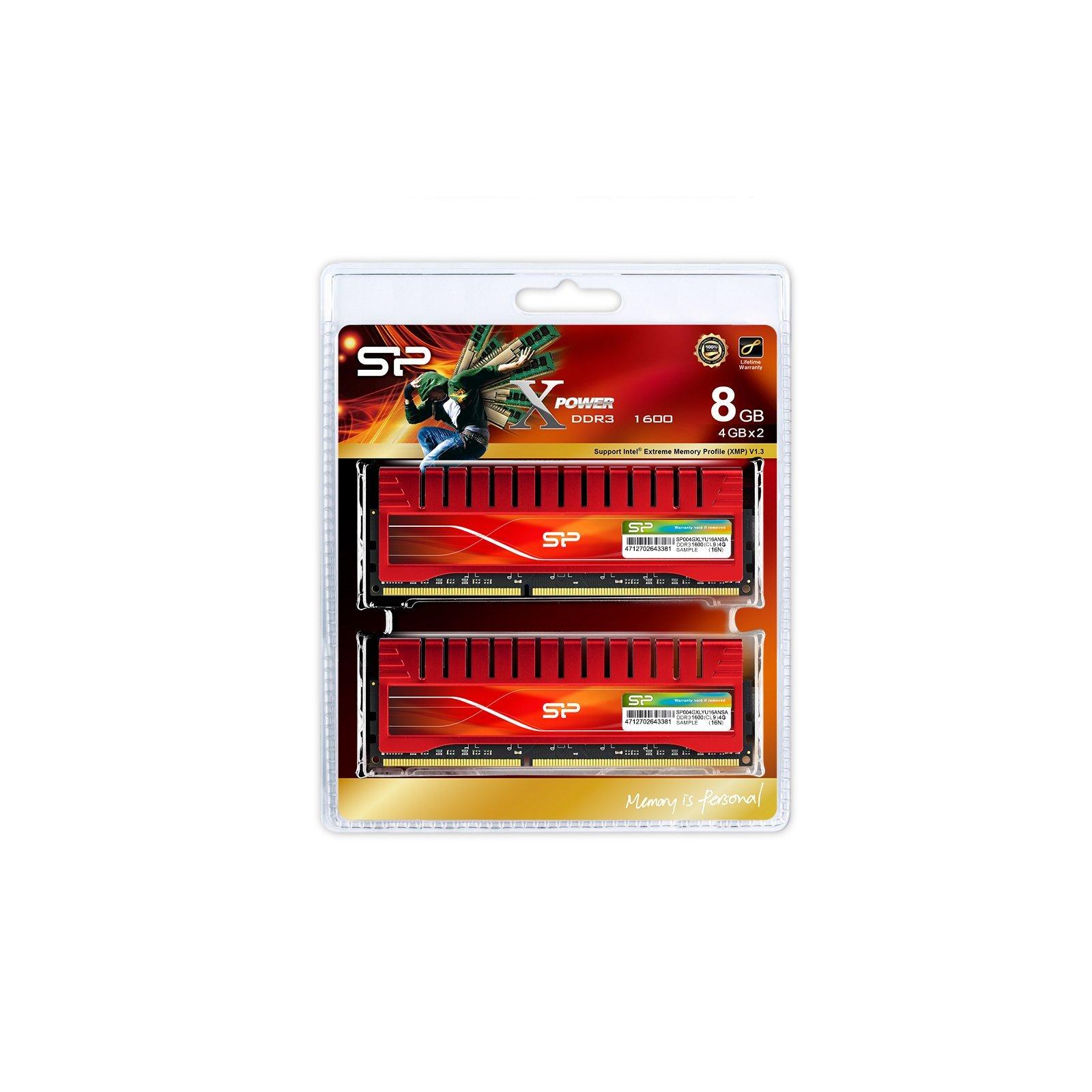 Модуль памяти для компьютера DDR3 8GB (2x4GB) 1600 MHz X-Power Silicon Power (SP008GXLYU16ANDA) изображение 3