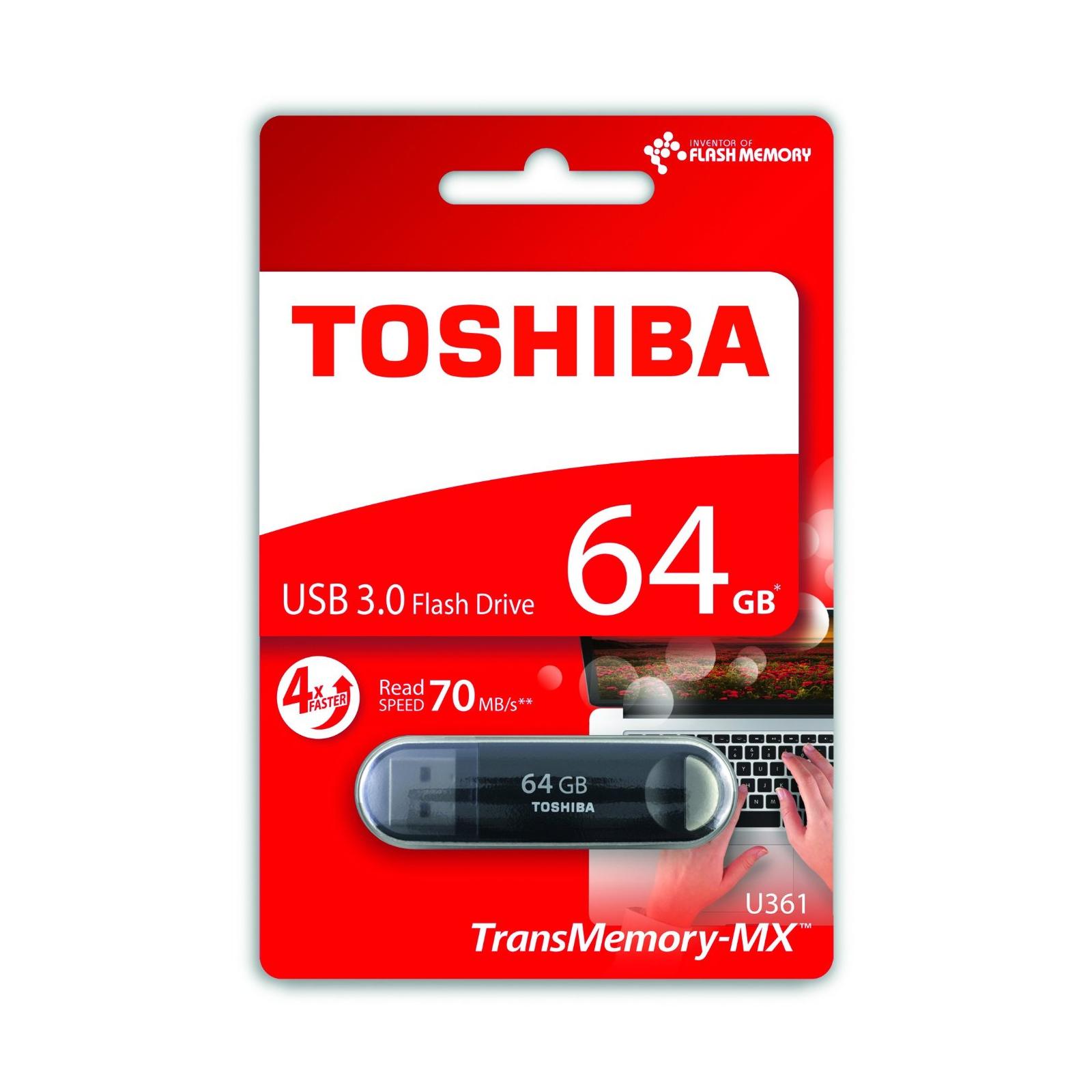 USB флеш накопитель TOSHIBA 64GB Suzaku Black USB 3.0 (THN-U361K0640M4) изображение 3