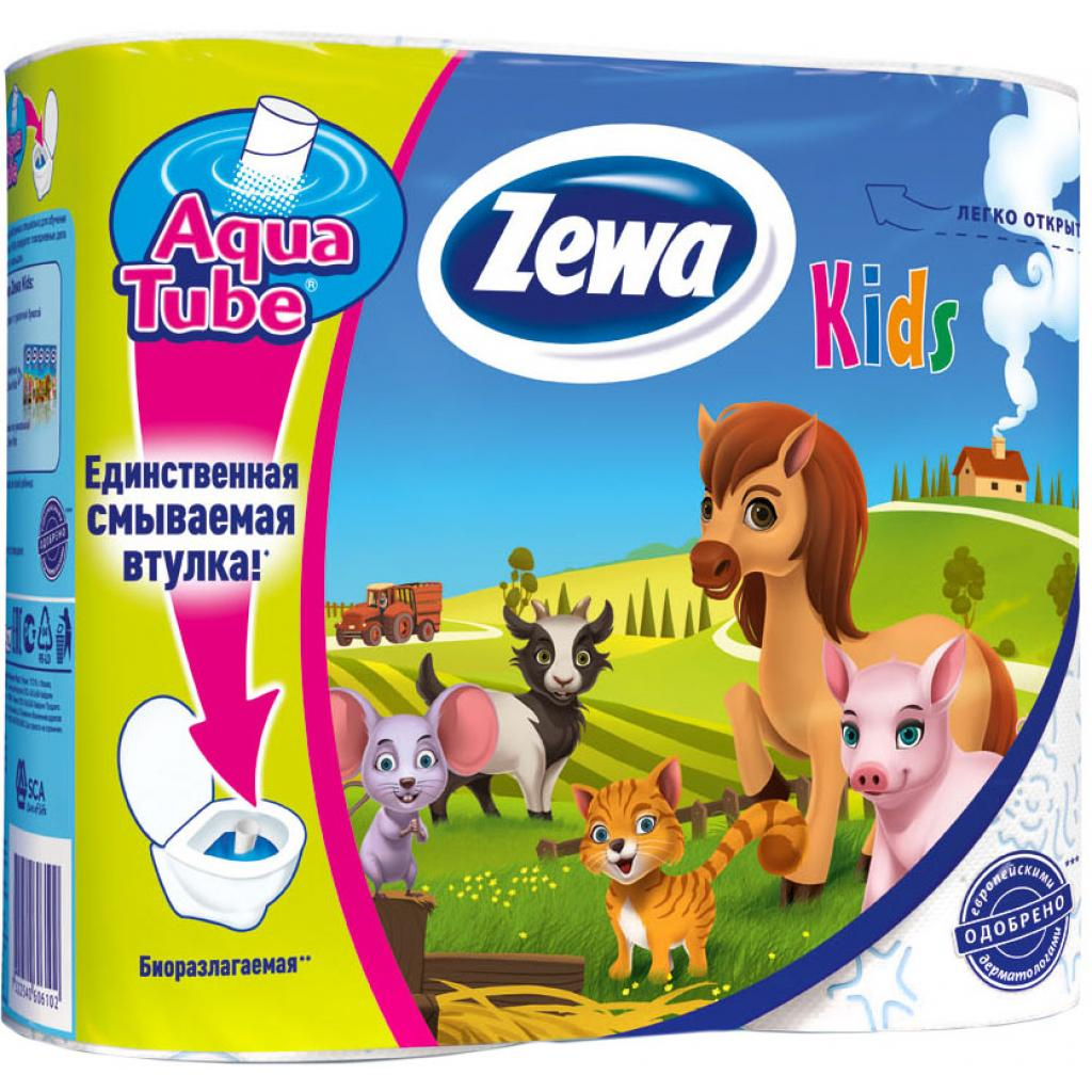 Туалетная бумага Zewa Kids 3-слойная 4 шт (7322540606102)