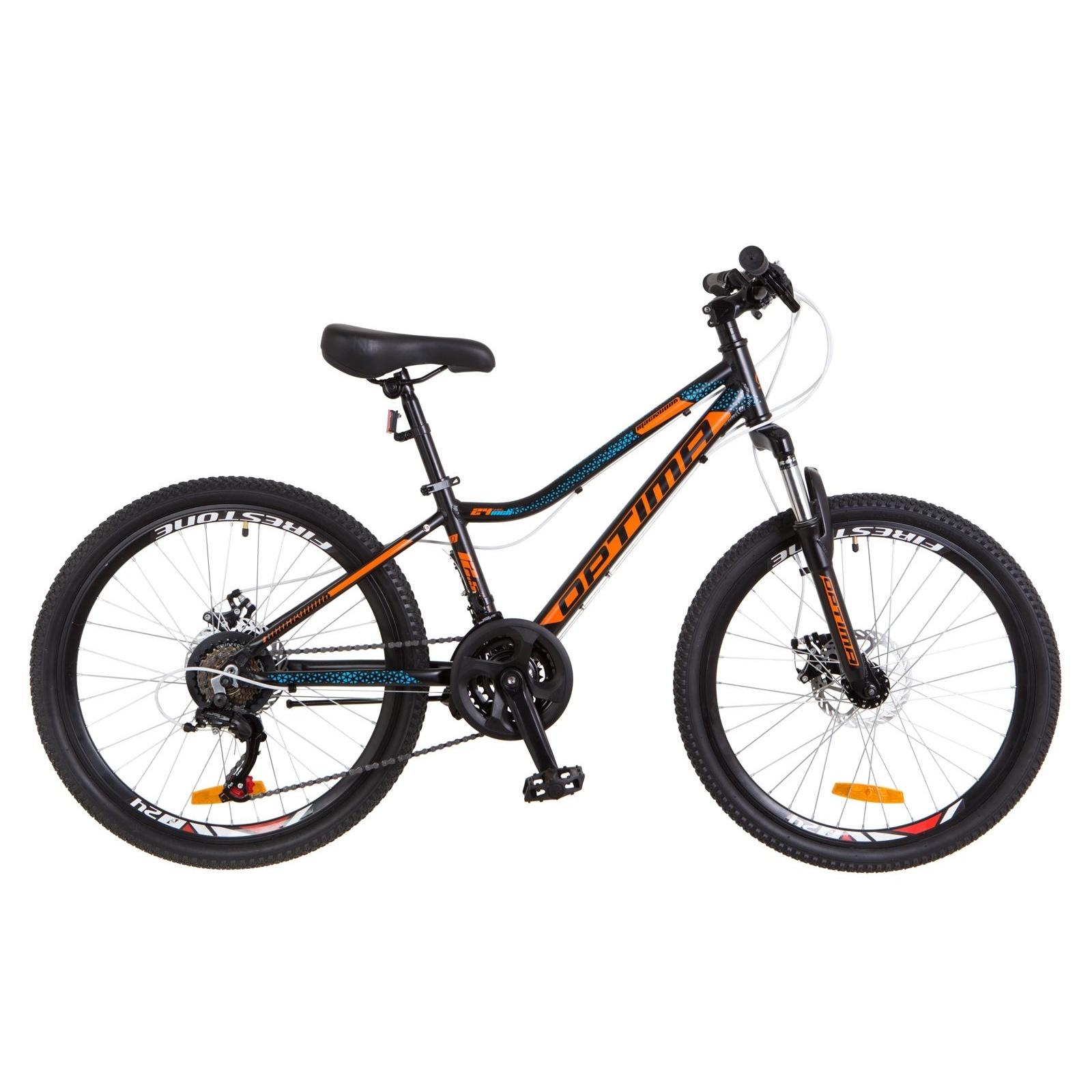 """Велосипед Optimabikes 24"""" BLACKWOOD 2018 14G Vbr рама-12,5"""" Al черно-оранжевый (OPS-OP-24-037)"""