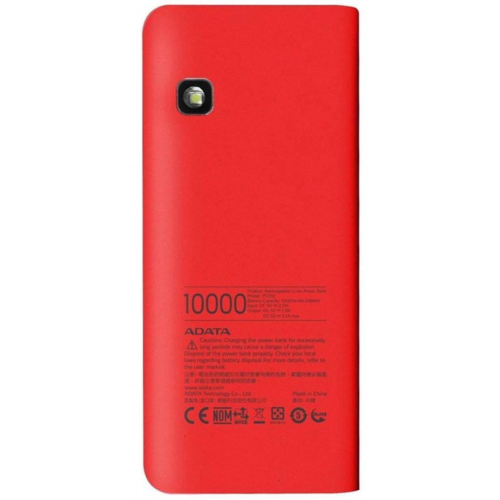 Батарея универсальная ADATA PT100 10000mAh Red-Orange (APT100-10000M-5V-CRDOR) изображение 2