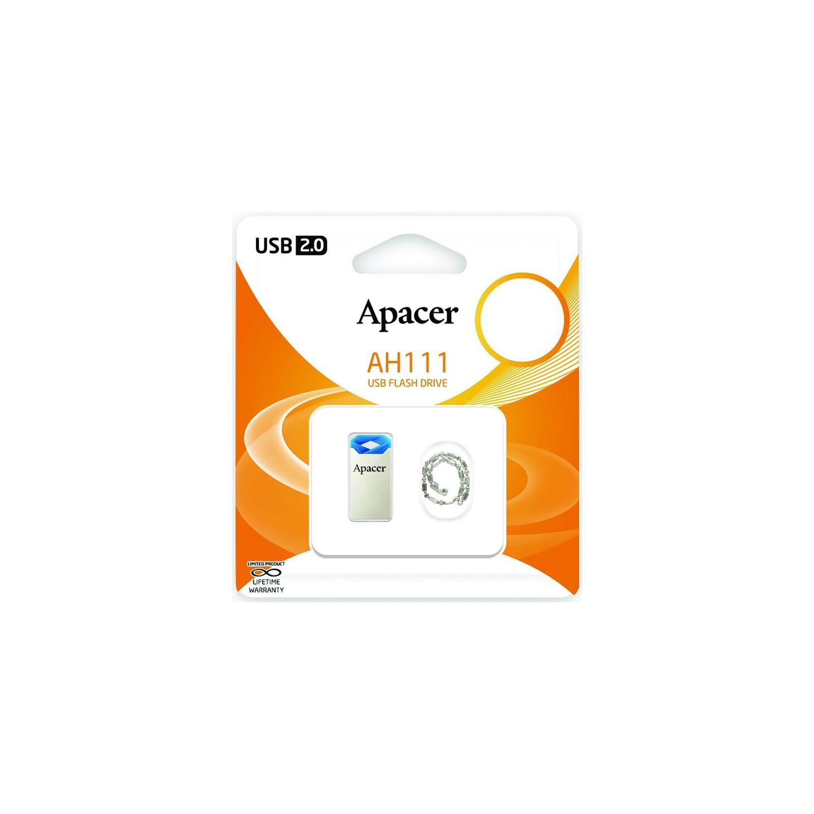 USB флеш накопитель Apacer 64GB AH111 Blue USB 2.0 (AP64GAH111U-1) изображение 6