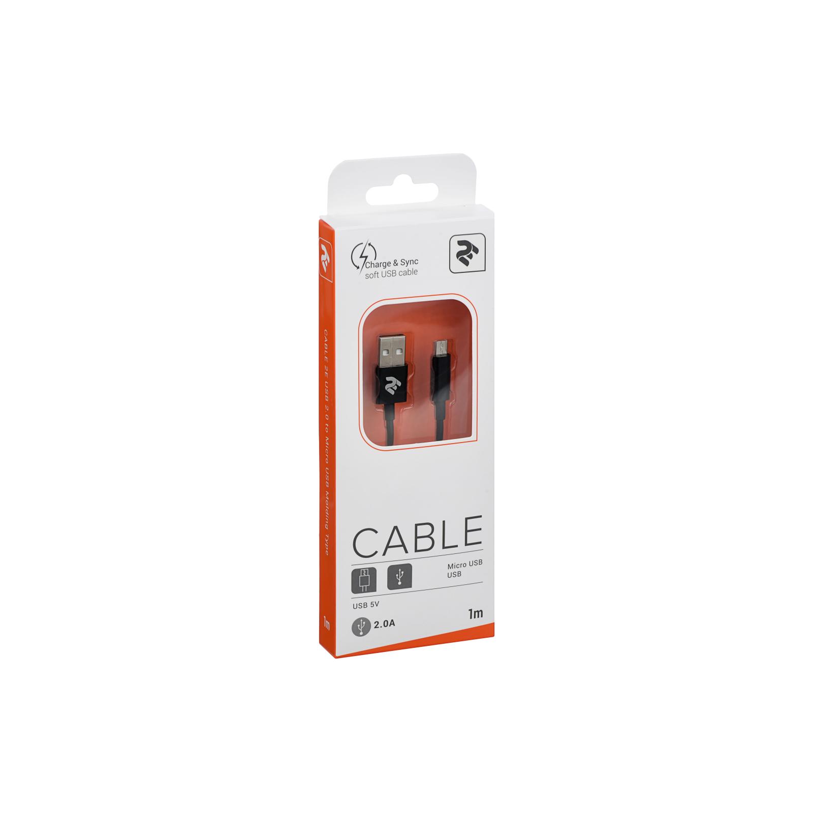 Дата кабель USB 2.0 AM to Micro 5P 1.0m black 2E (2E-CCMAB-BL) изображение 3