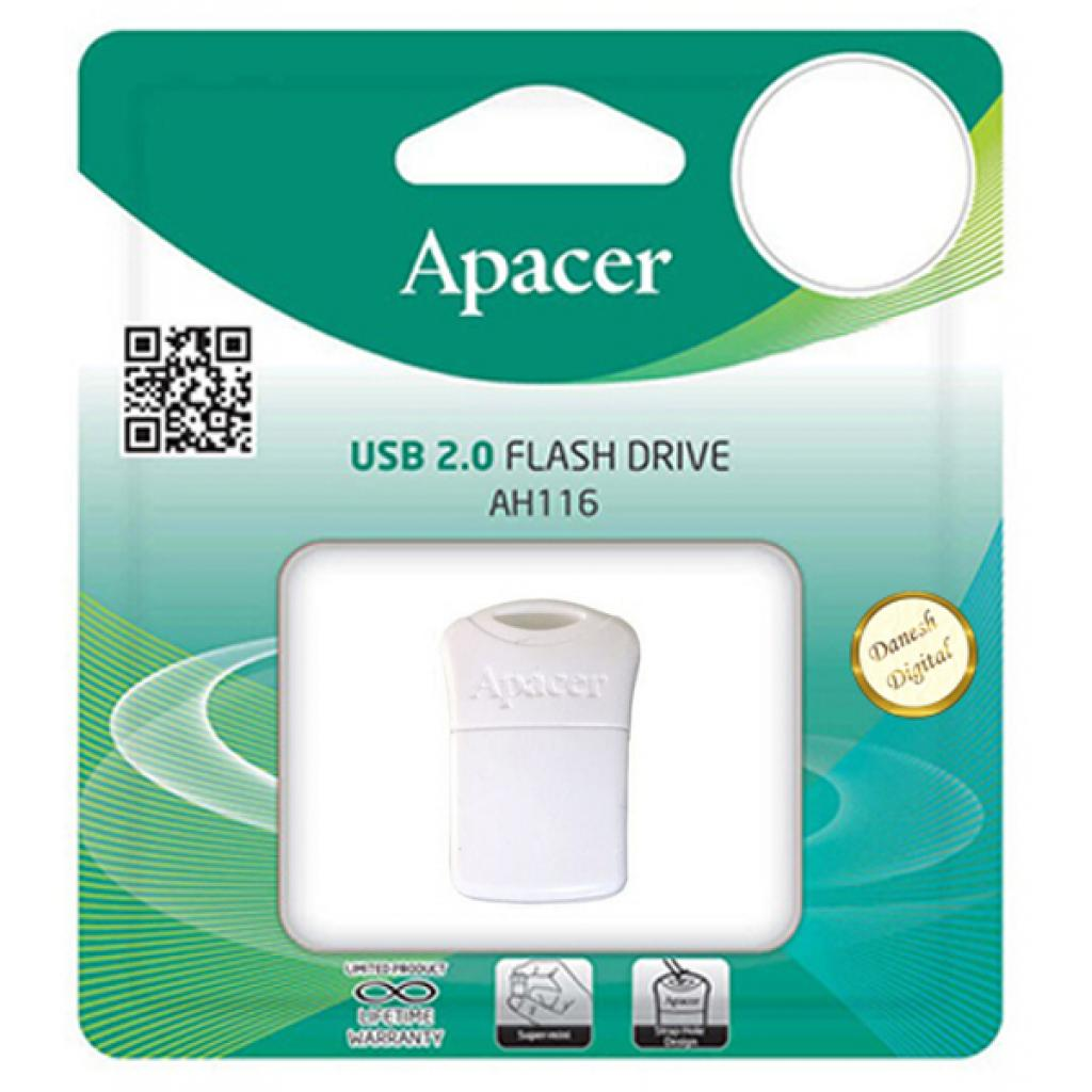 USB флеш накопитель Apacer 16GB AH116 White USB 2.0 (AP16GAH116W-1) изображение 3
