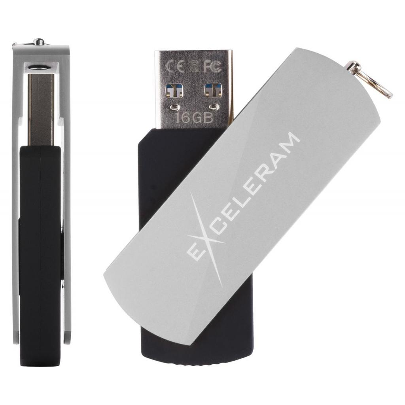USB флеш накопитель eXceleram 128GB P2 Series Silver/Black USB 3.1 Gen 1 (EXP2U3SIB128) изображение 4