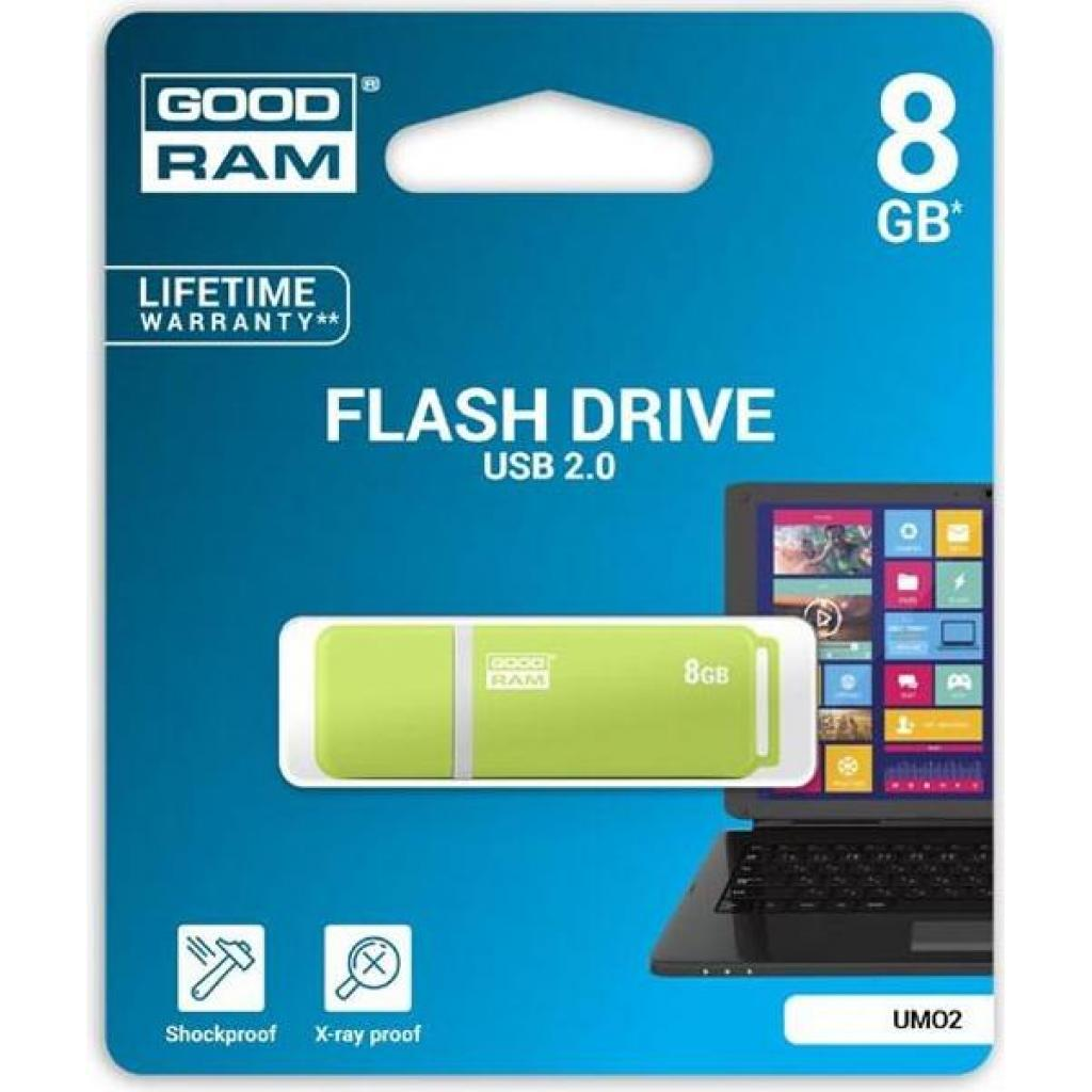 USB флеш накопитель Goodram 8GB UMO2 Green USB 2.0 (UMO2-0080G0R11) изображение 6