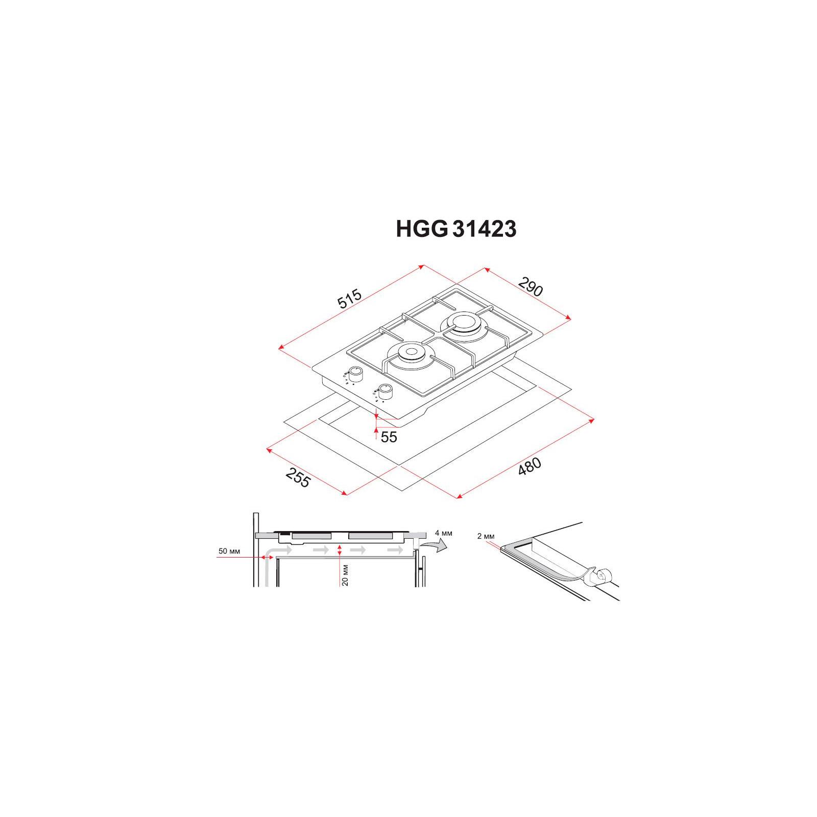 Варочная поверхность PERFELLI HGG 31423 WH изображение 6